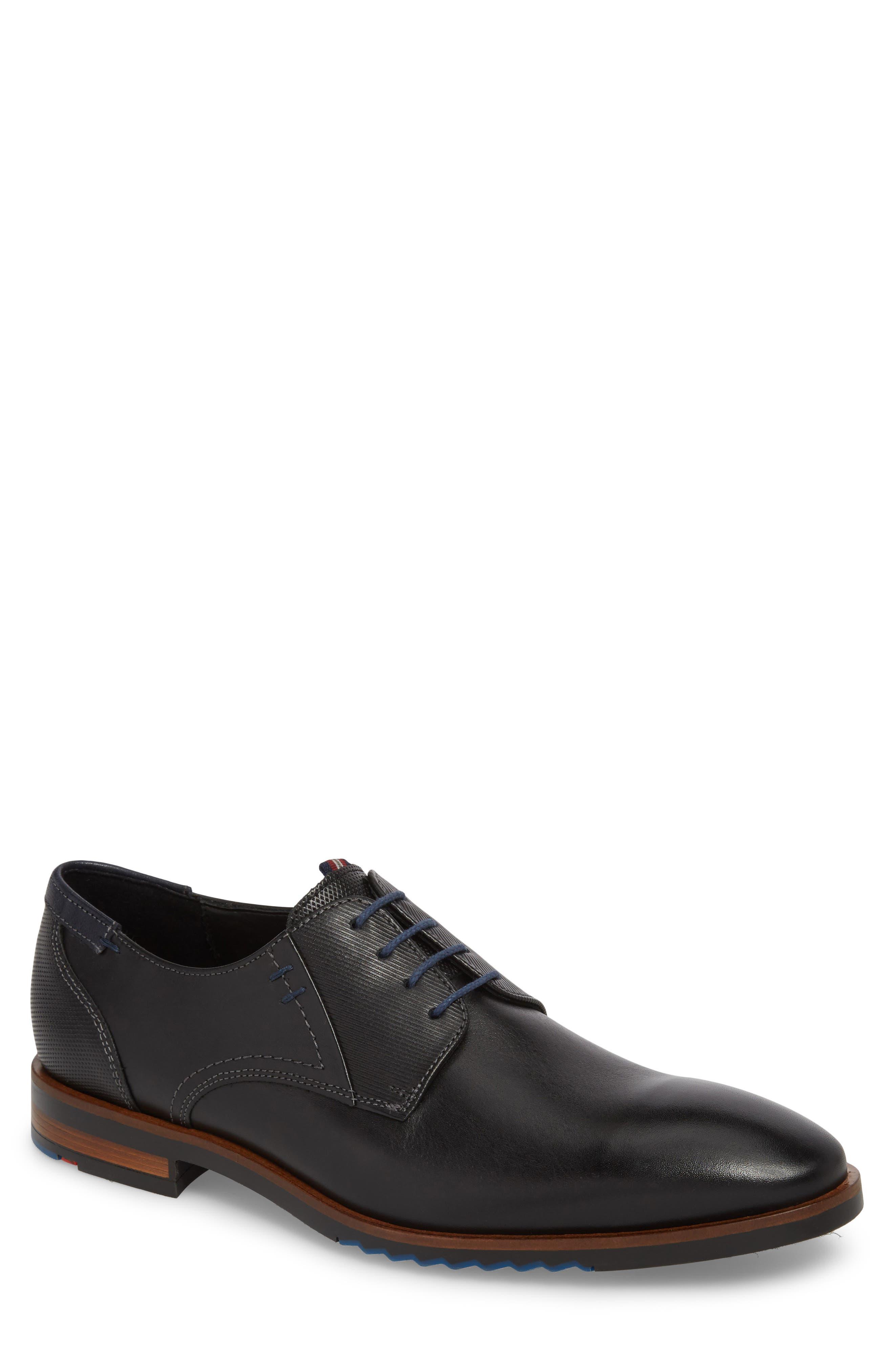 Deno Plain Toe Derby,                         Main,                         color, Black/ Blue Leather