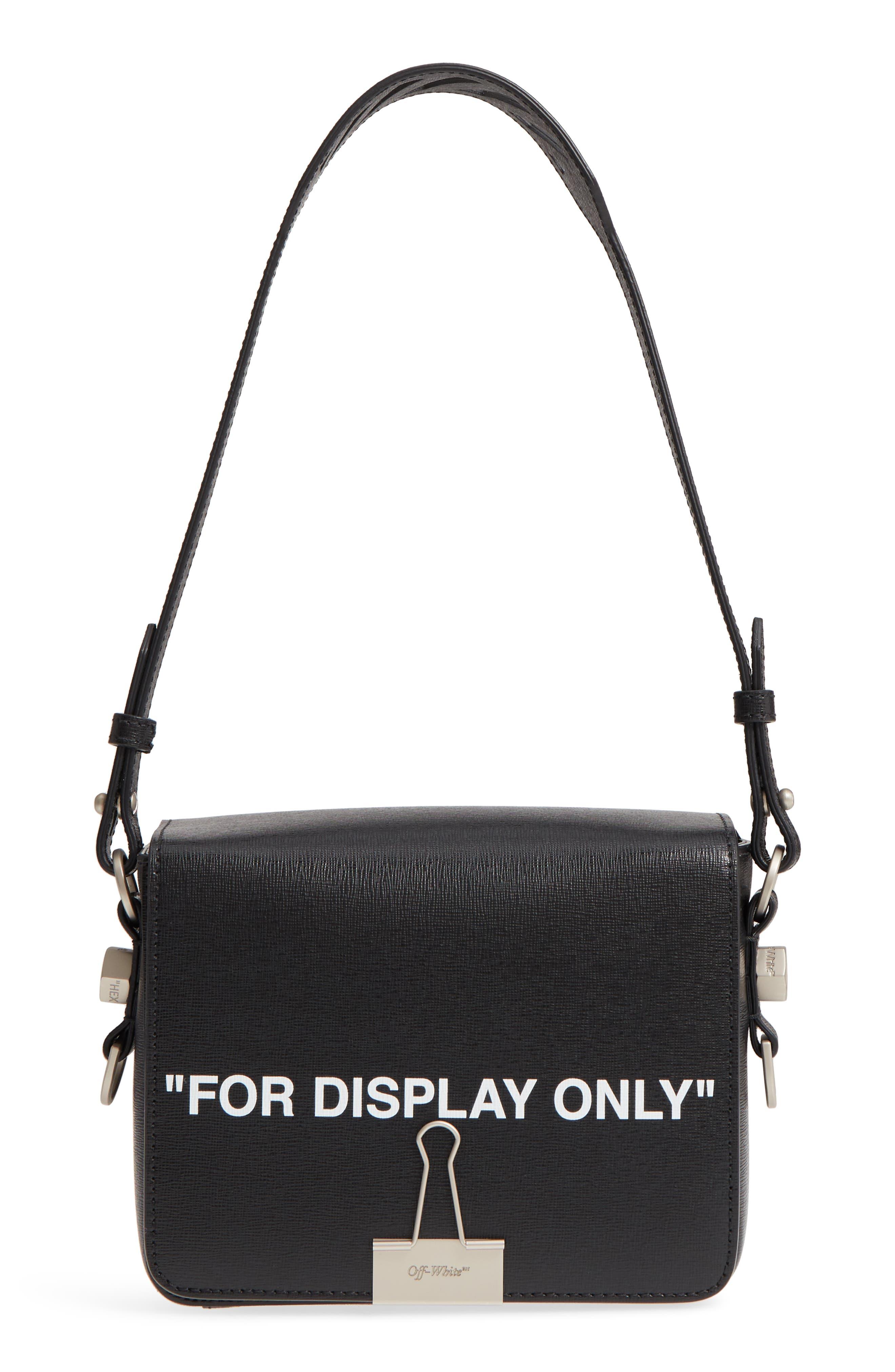 Virgil Was Here Binder Clip Leather Shoulder Bag,                             Alternate thumbnail 3, color,                             Black White