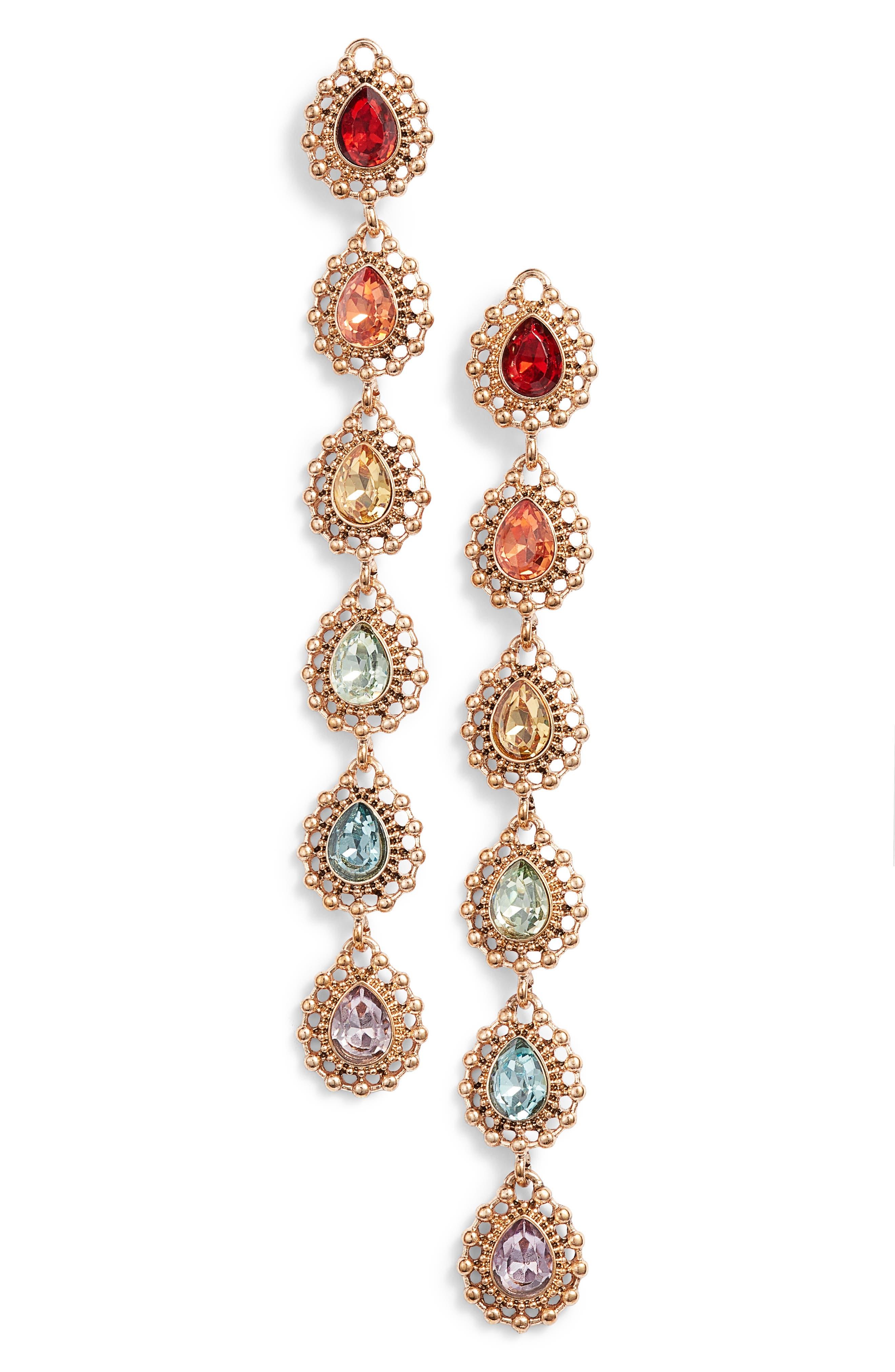 Ombré Crystal Drop Earrings,                             Main thumbnail 1, color,                             Gold/ Multi