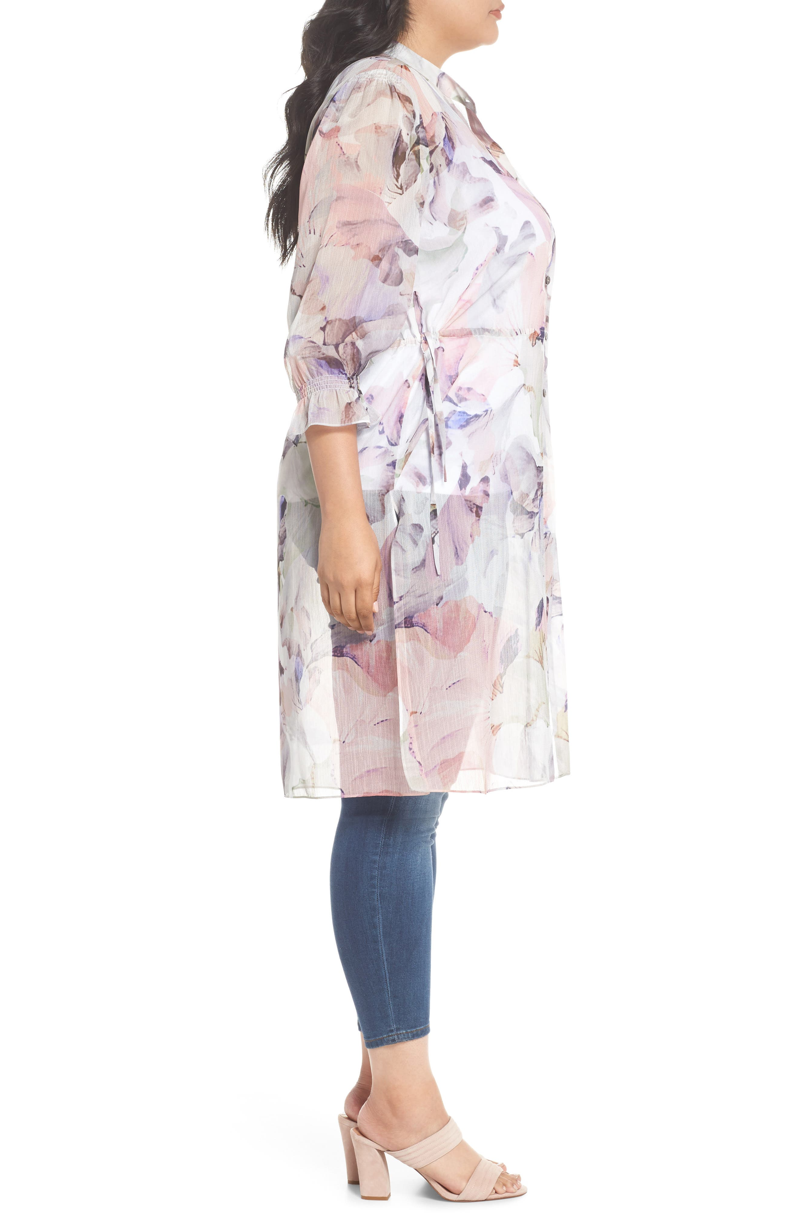 Diffused Bloom Tunic Dress,                             Alternate thumbnail 3, color,                             New Ivory