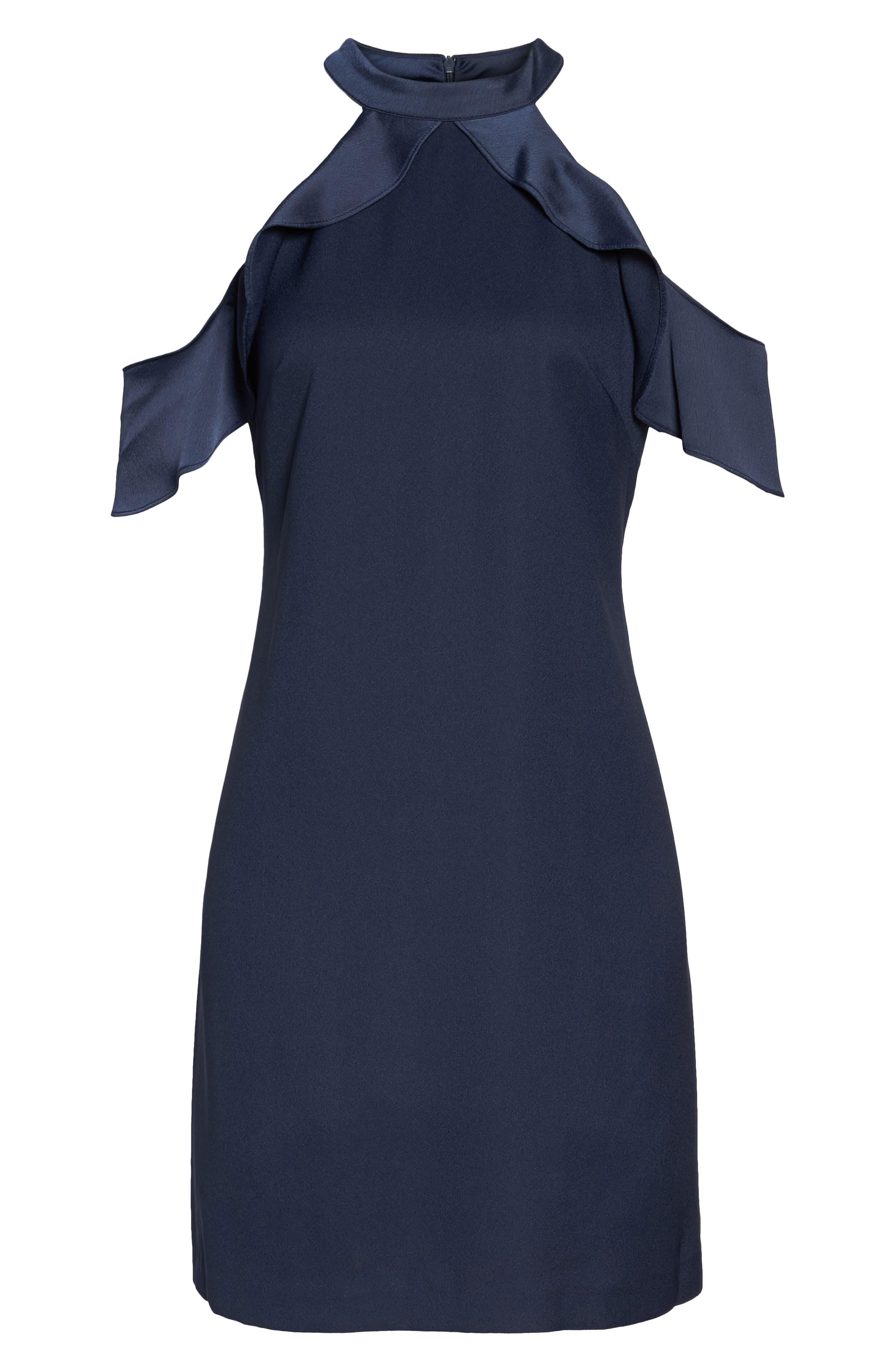 Cold Shoulder Satin Trim Dress,                             Alternate thumbnail 7, color,                             Navy