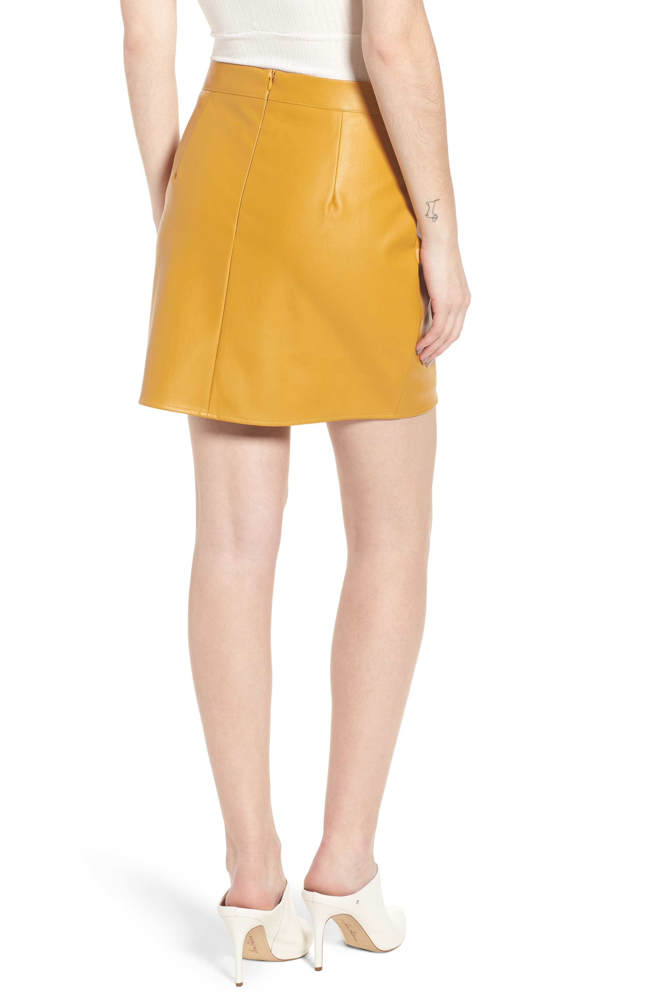 Bishop + Young Faux Leather Miniskirt,                             Alternate thumbnail 2, color,                             Mustard