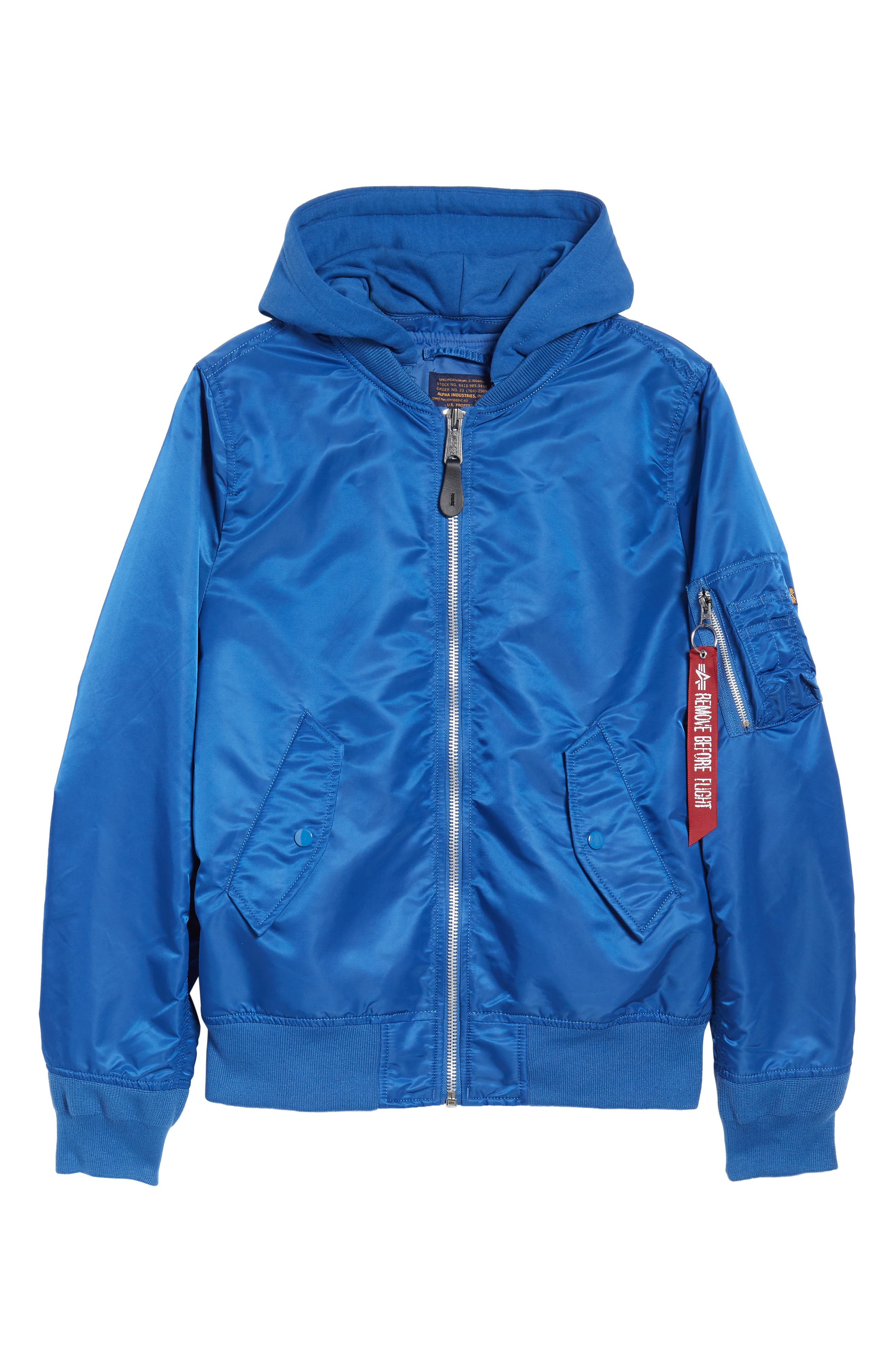 L-2B Natus Water Resistant Flight Jacket,                             Alternate thumbnail 6, color,                             Pacific Blue