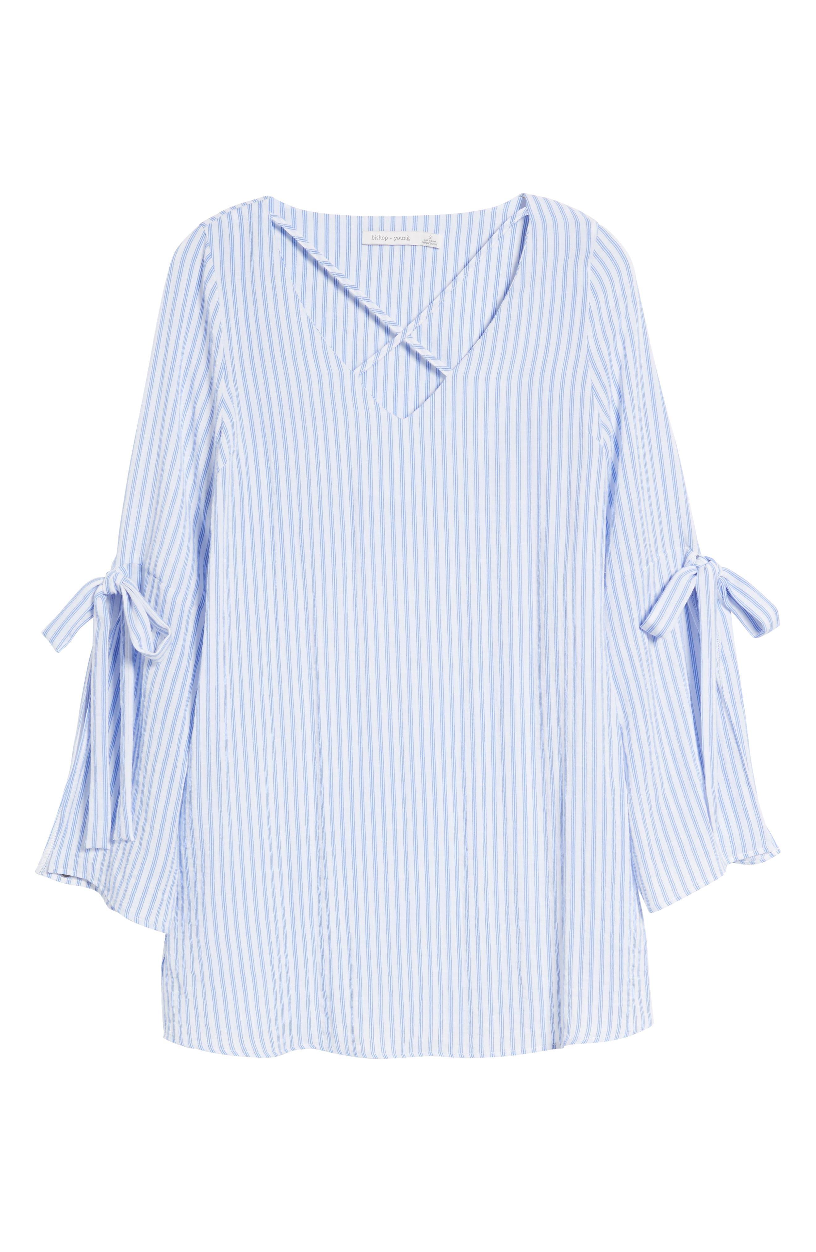 Bishop + Young Stripe Tunic Top,                             Alternate thumbnail 7, color,                             Blue White Stripe