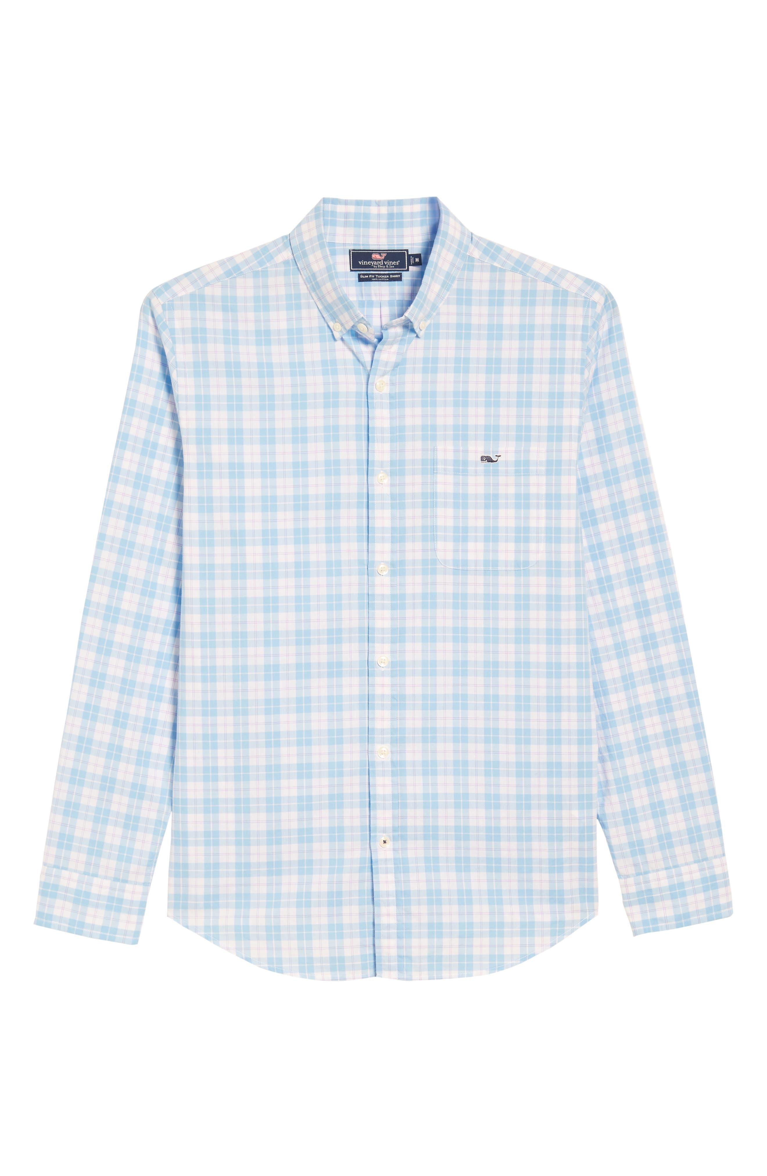 Shallow Sea Slim Fit Plaid Sport Shirt,                             Alternate thumbnail 6, color,                             Ocean Breeze