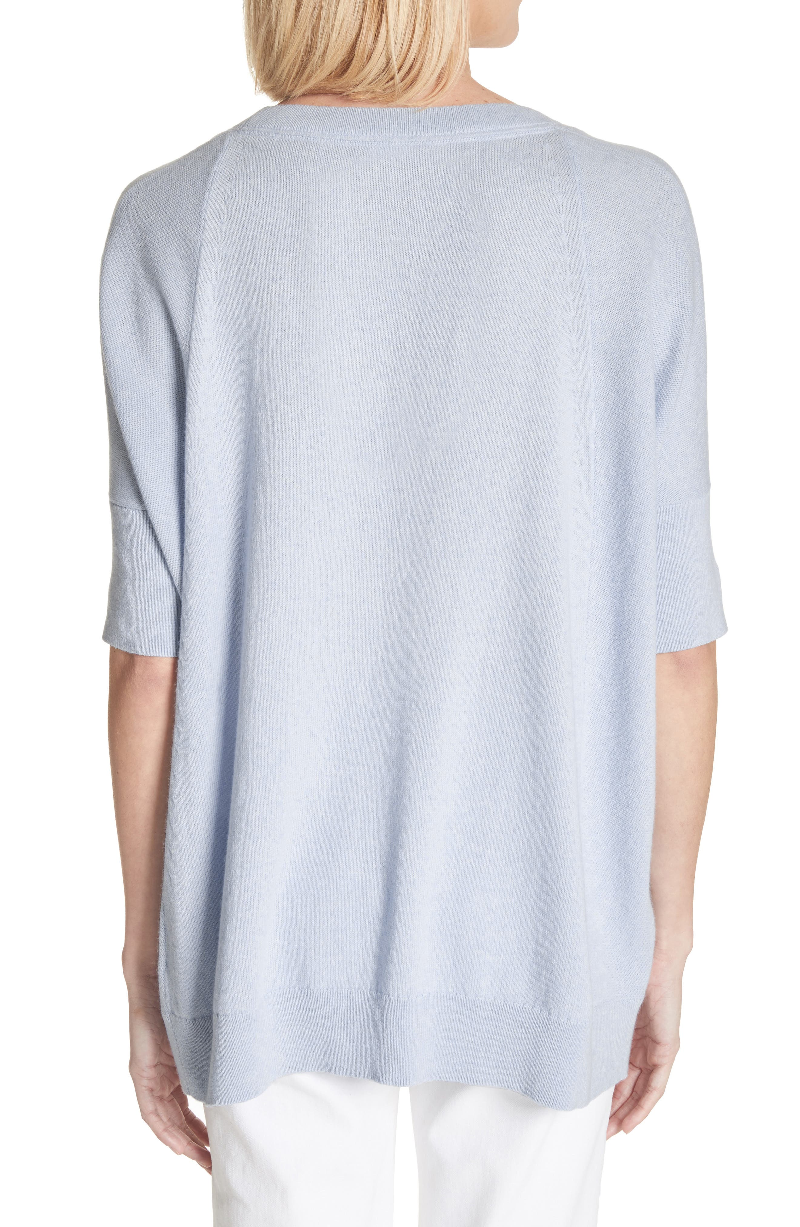 Cotton, Cashmere & Silk Oversized Scoop Neck Sweater,                             Alternate thumbnail 2, color,                             Pale Blue Melange