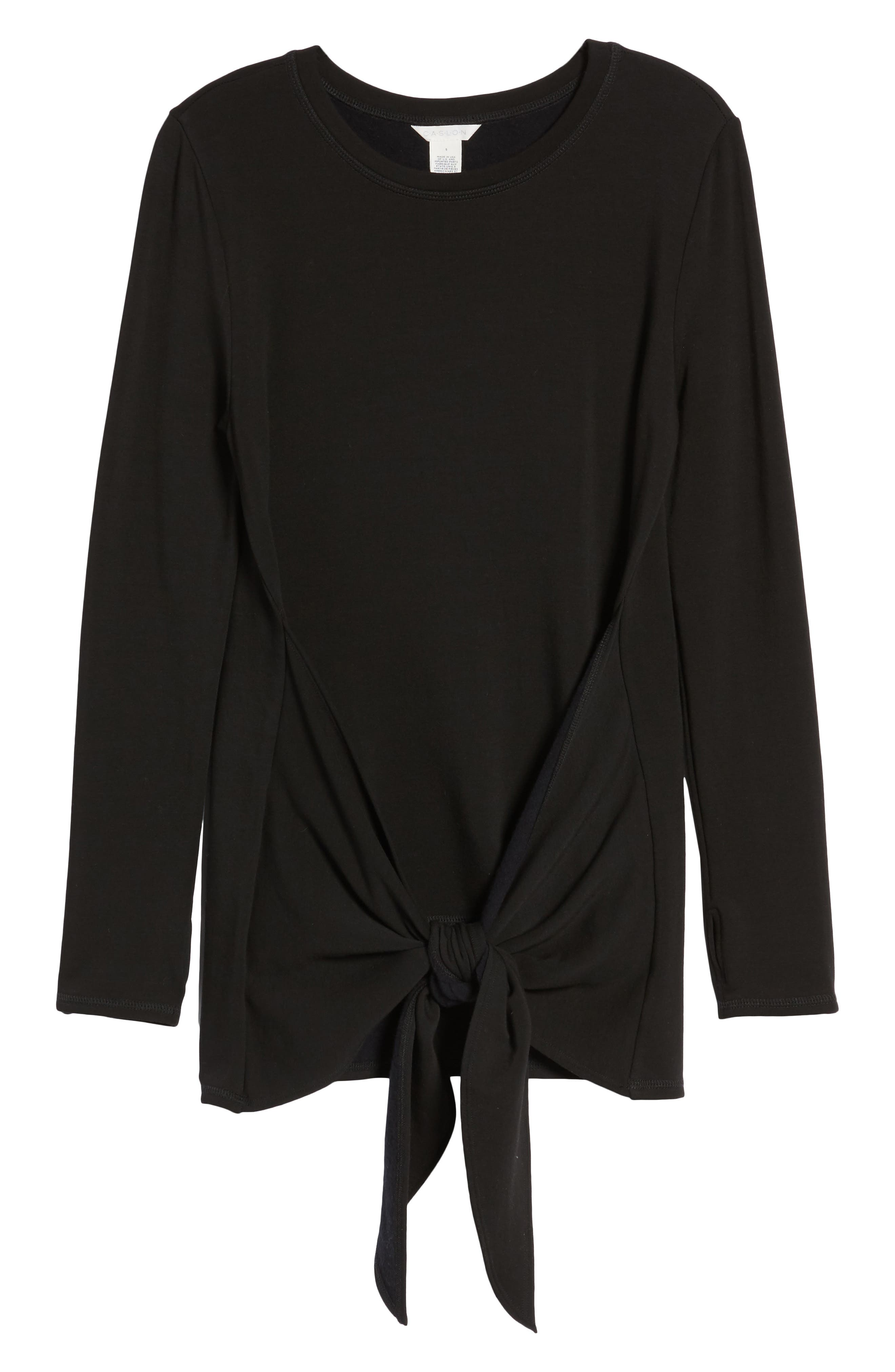 Off-Duty Tie Front Sweatshirt,                             Alternate thumbnail 7, color,                             Black
