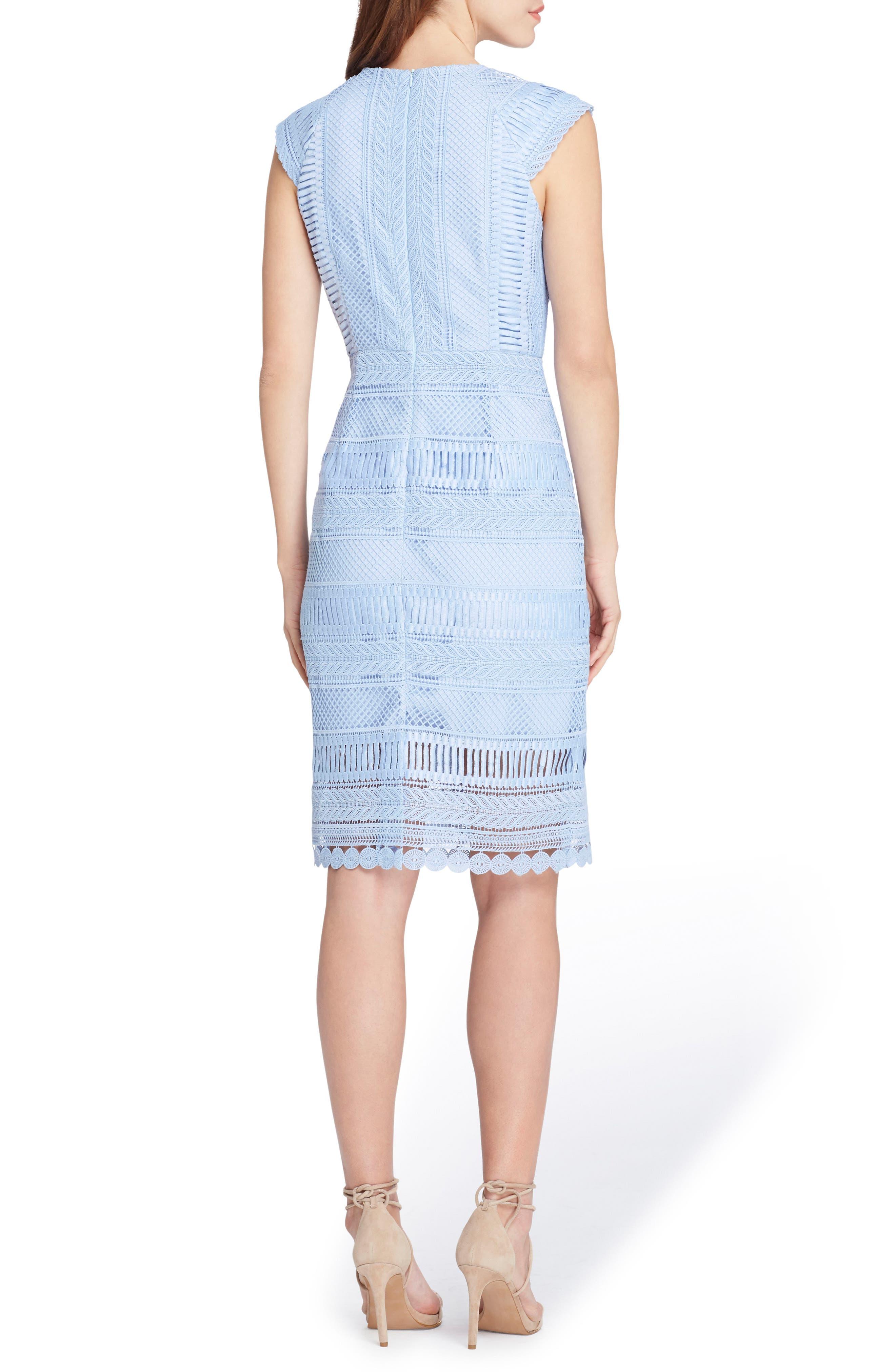 Cap Sleeve Lace Sheath Dress,                             Alternate thumbnail 2, color,                             Periwinkle