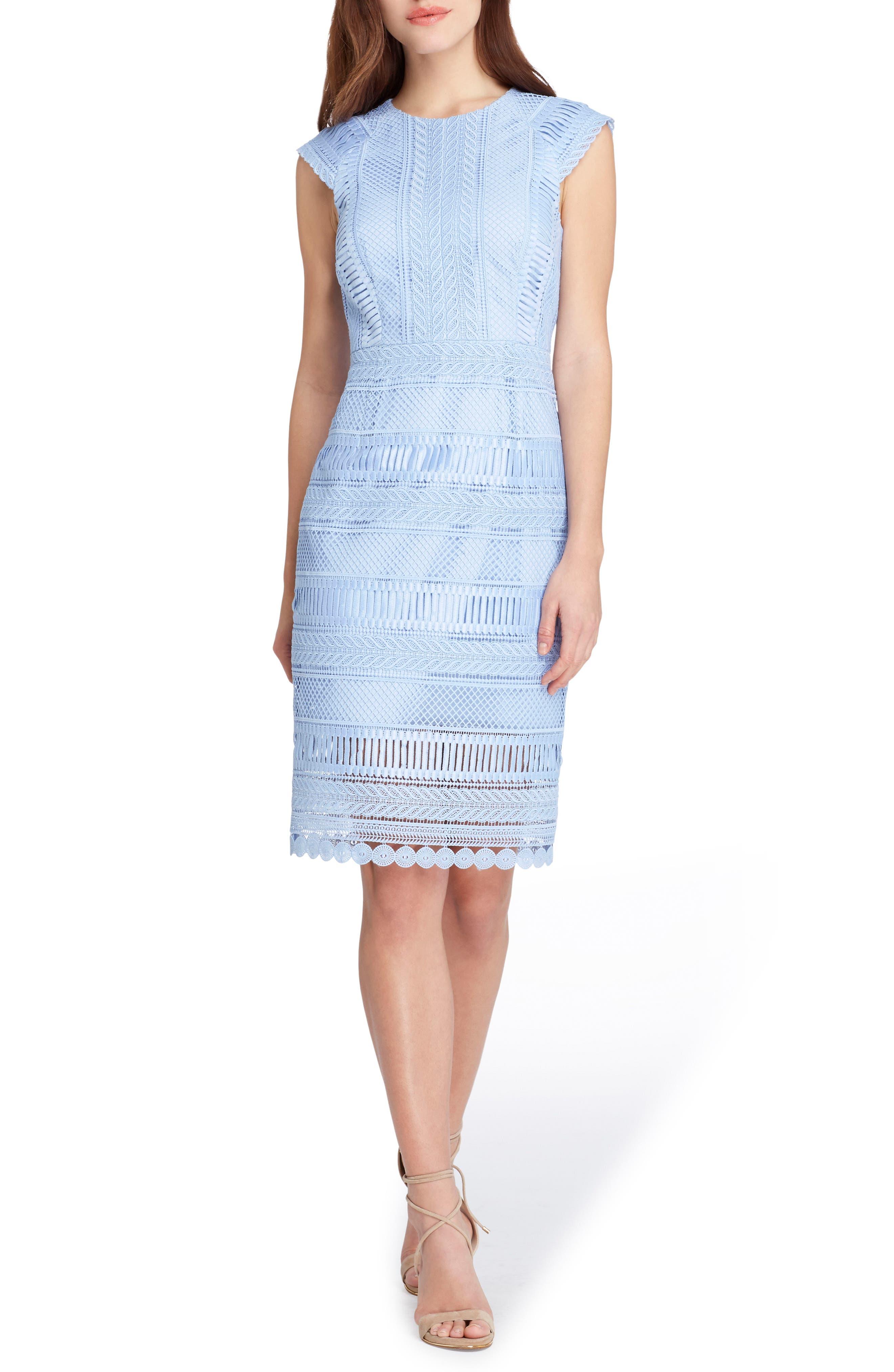Cap Sleeve Lace Sheath Dress,                         Main,                         color, Periwinkle