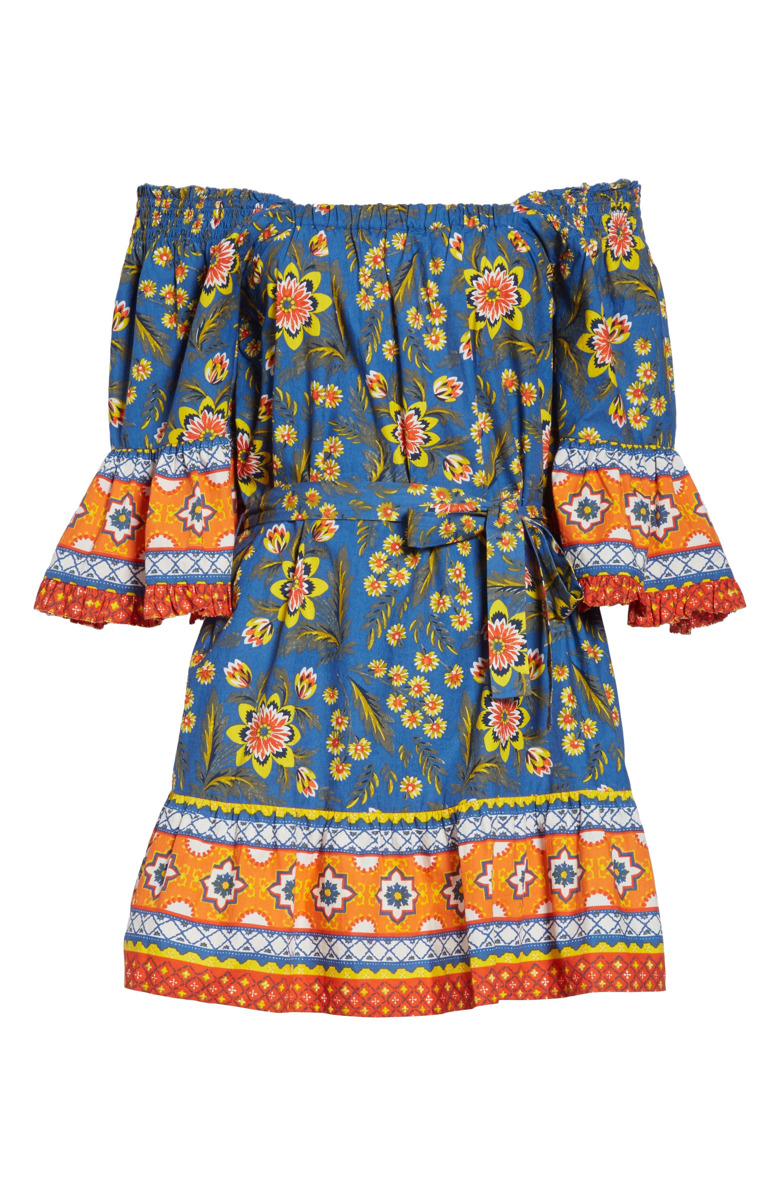 Chloris Off the Shoulder Cotton Dress,                             Alternate thumbnail 6, color,                             Baja Blue