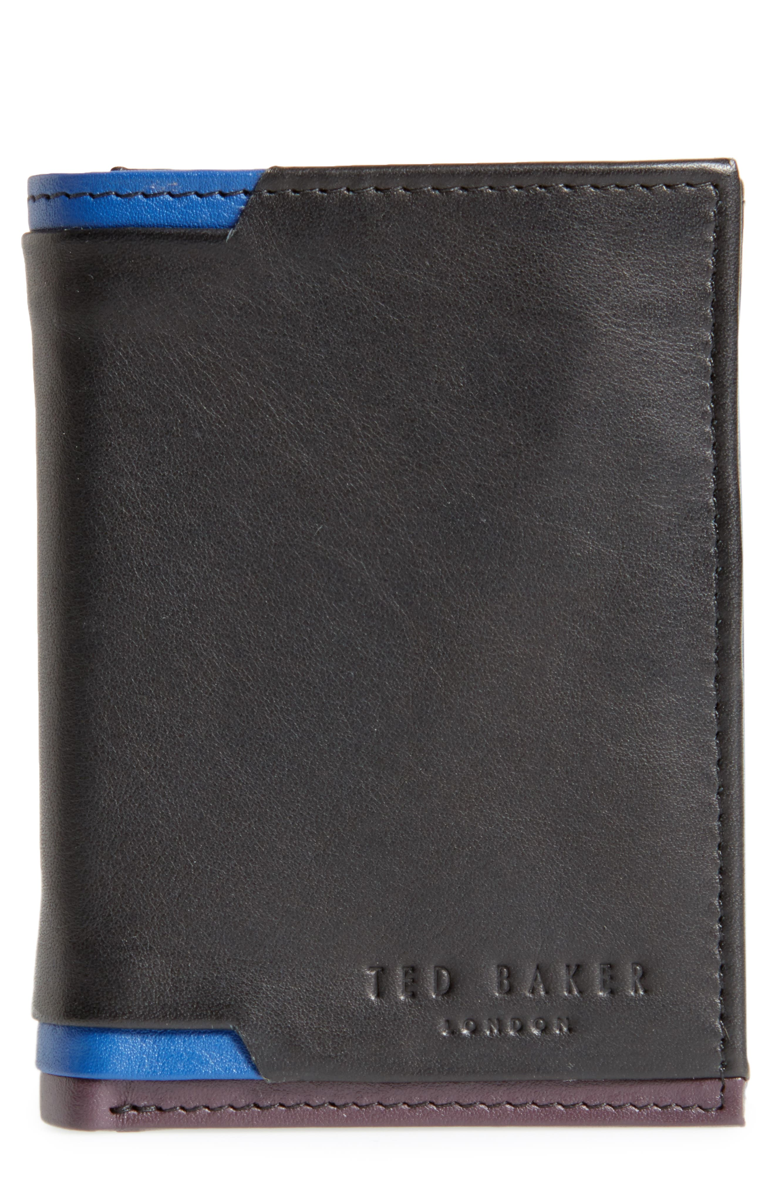 Vien Corner Detail Trifold Leather Wallet,                             Main thumbnail 1, color,                             Black