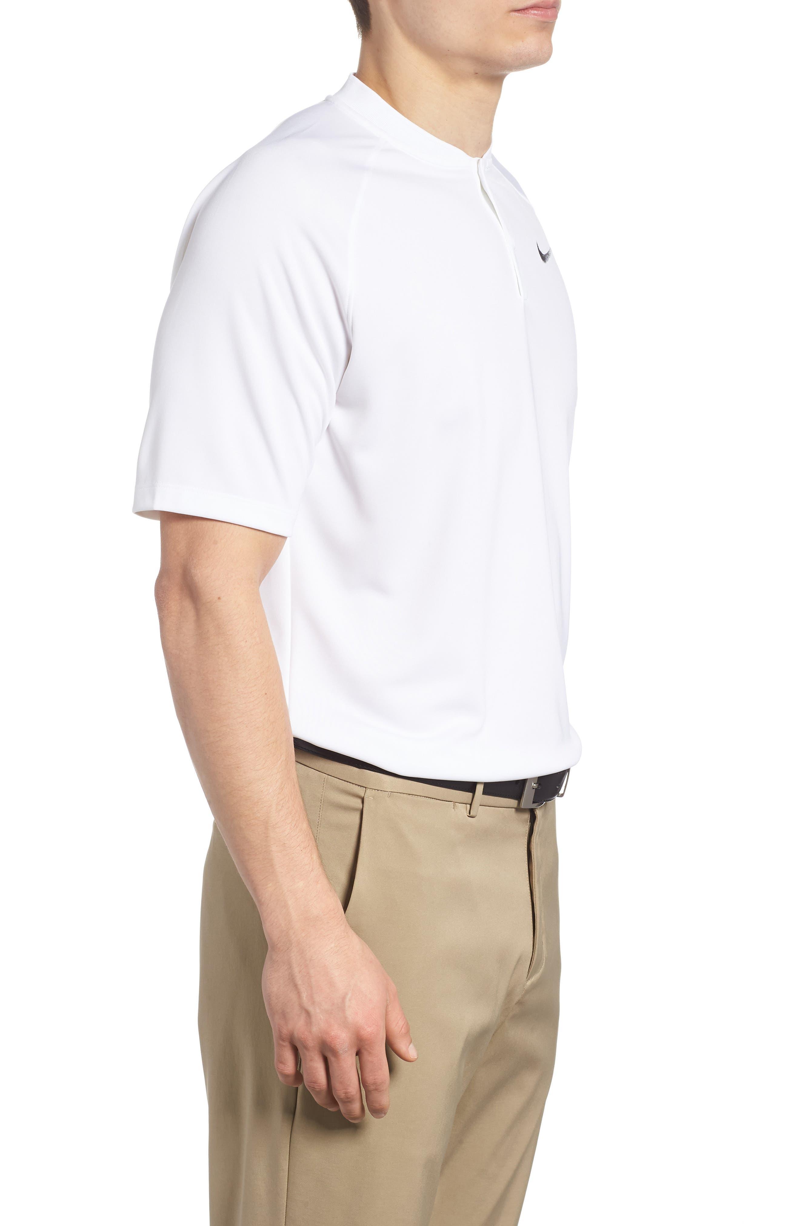 Dry Momentum Golf Polo,                             Alternate thumbnail 3, color,                             White/ White/ Black