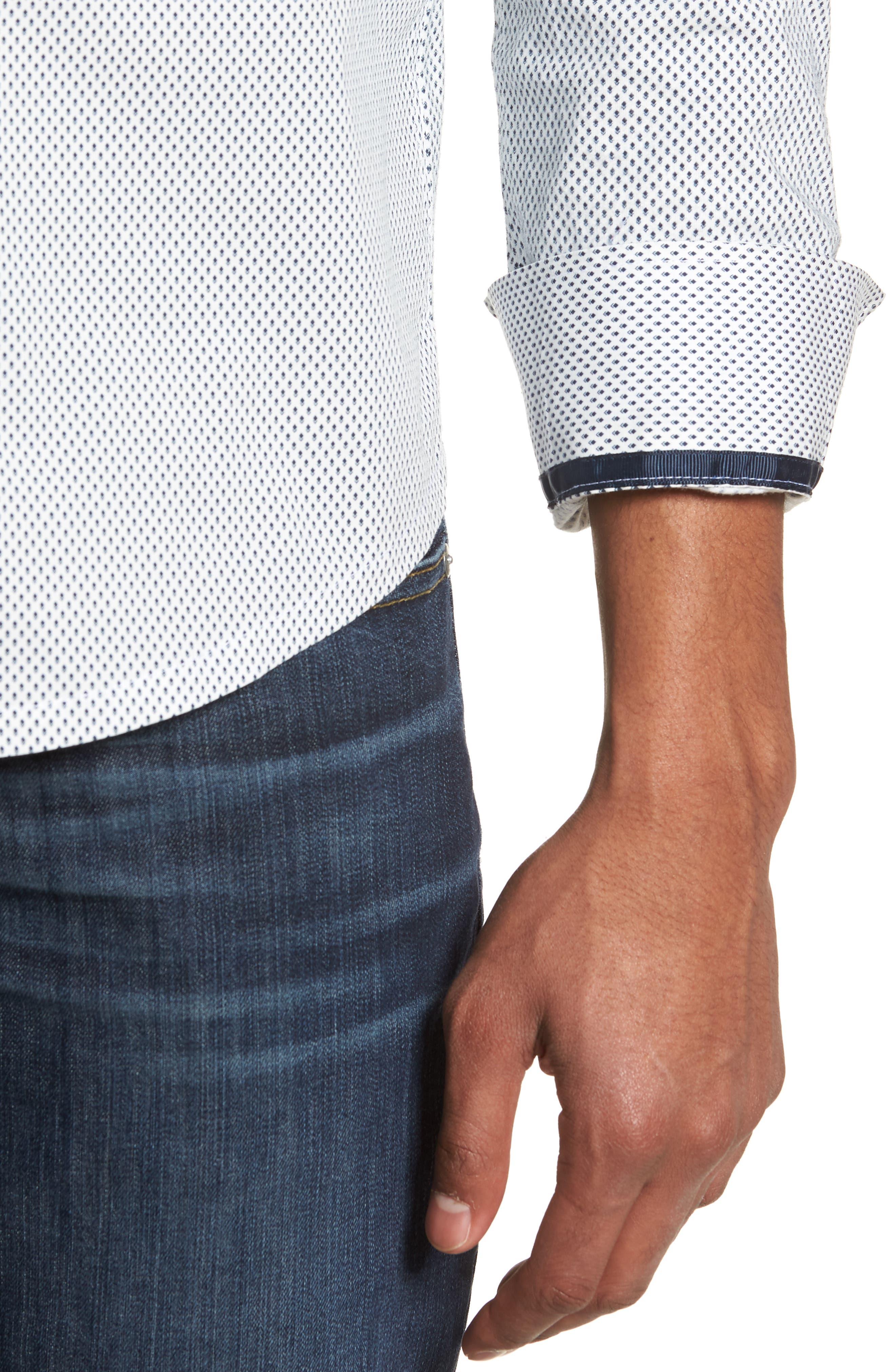 Reworked Slim Fit Diamond Print Sport Shirt,                             Alternate thumbnail 2, color,                             White/ Navy