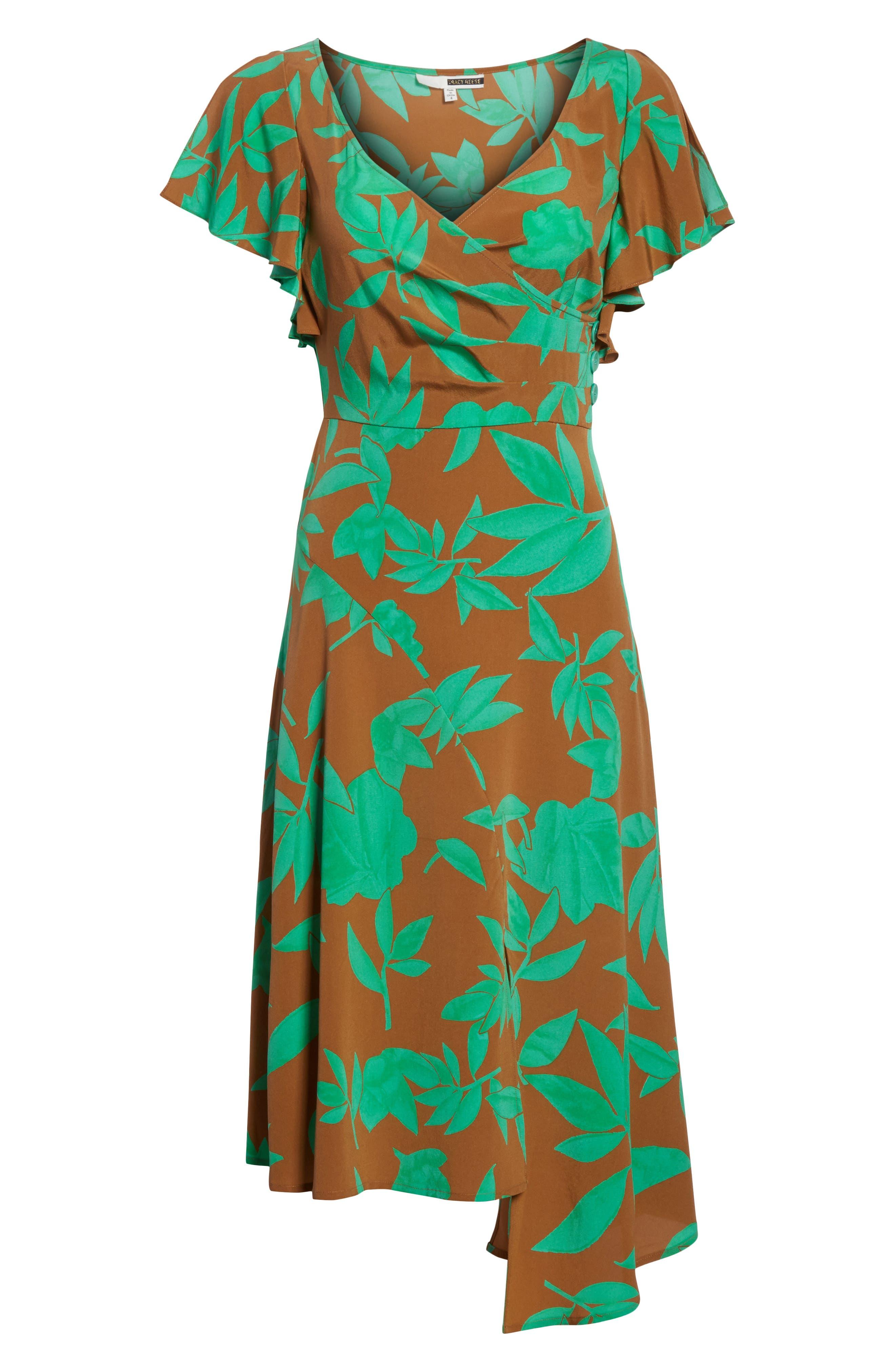 Asymmetrical Faux Wrap Dress,                             Alternate thumbnail 6, color,                             Acorn Jade