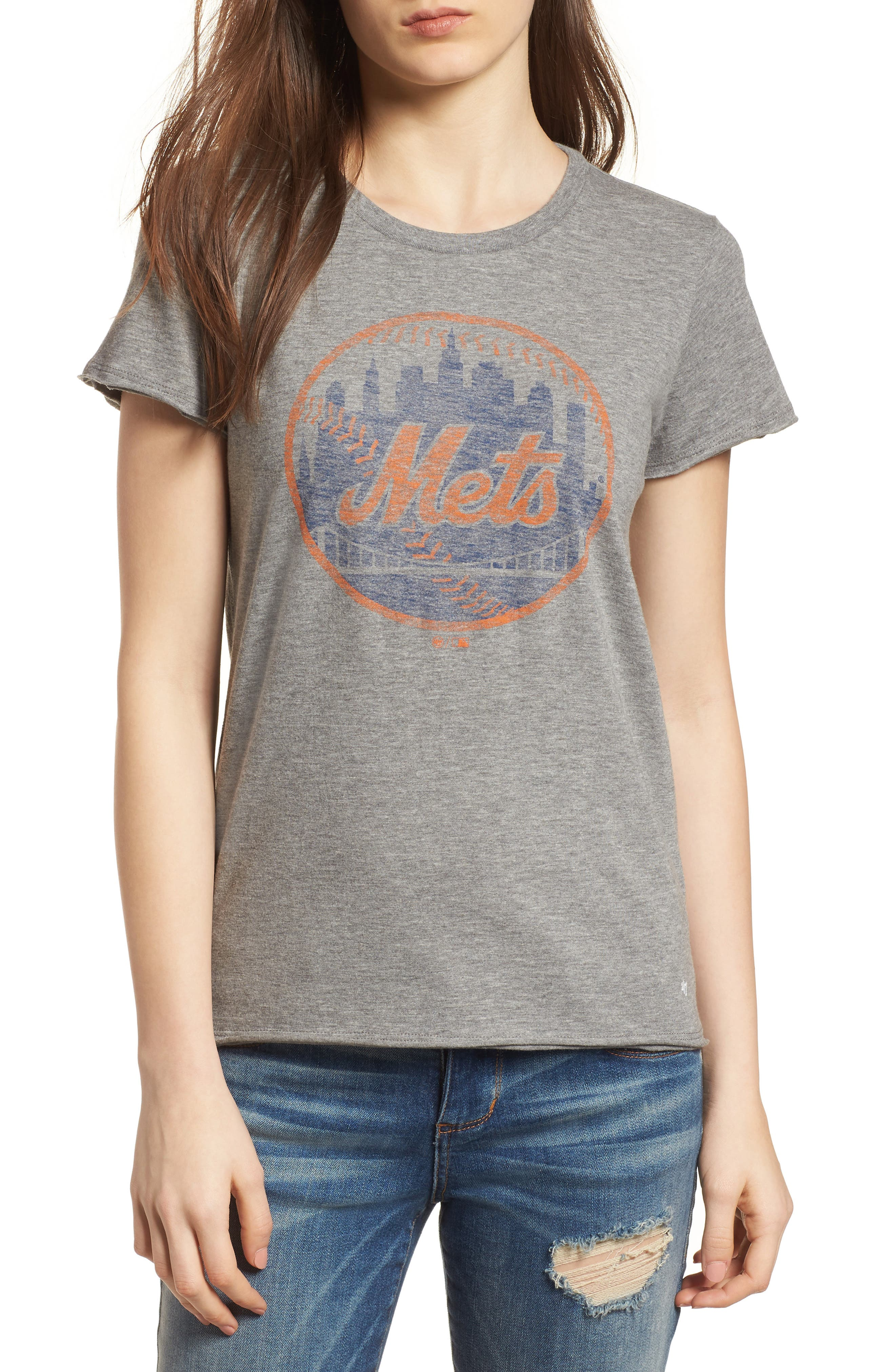 New York Mets Fader Letter Tee,                         Main,                         color, Slate Grey
