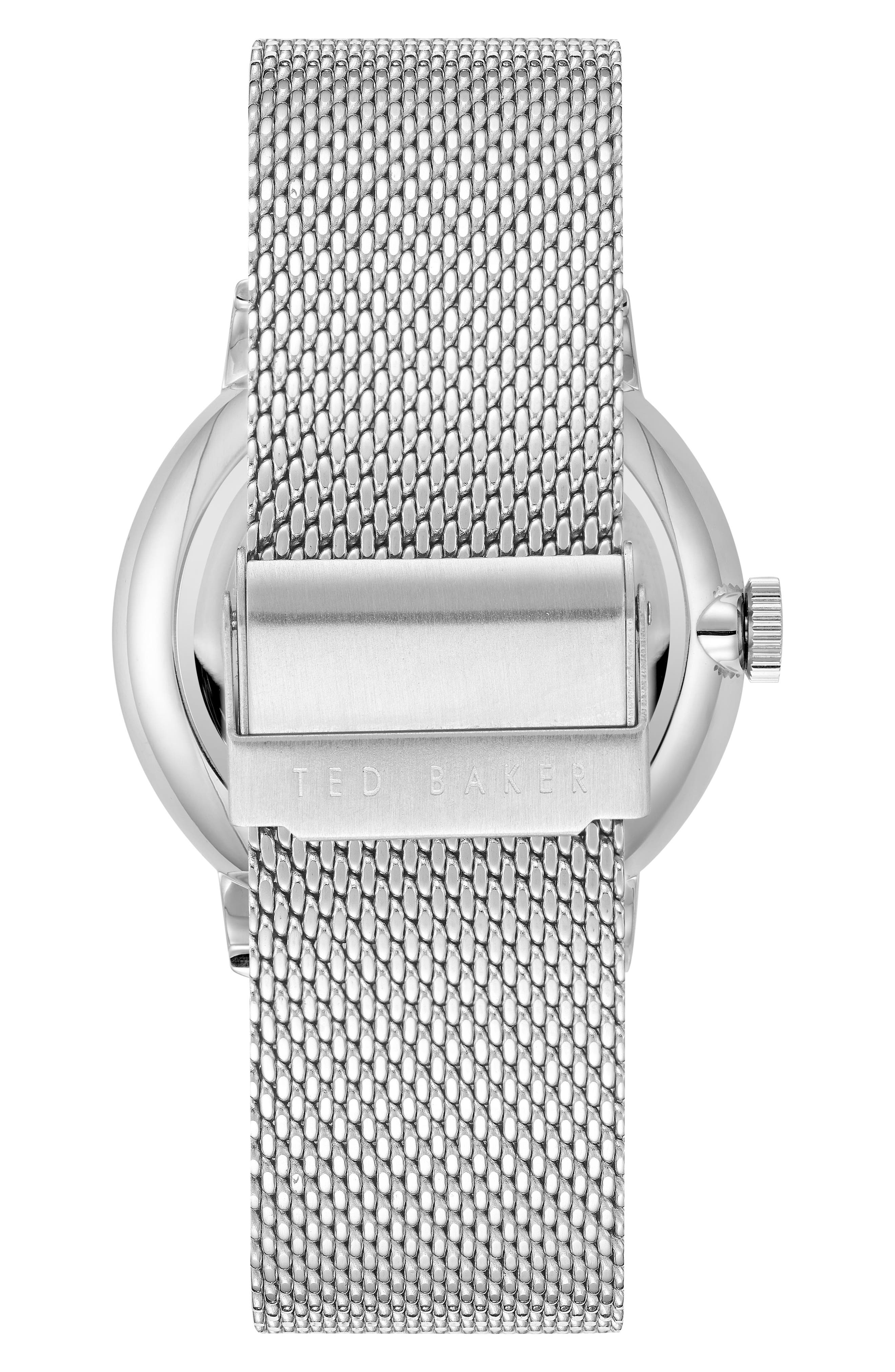Owen Mesh Strap Watch, 42mm,                             Alternate thumbnail 2, color,                             White/ Stainless Steel