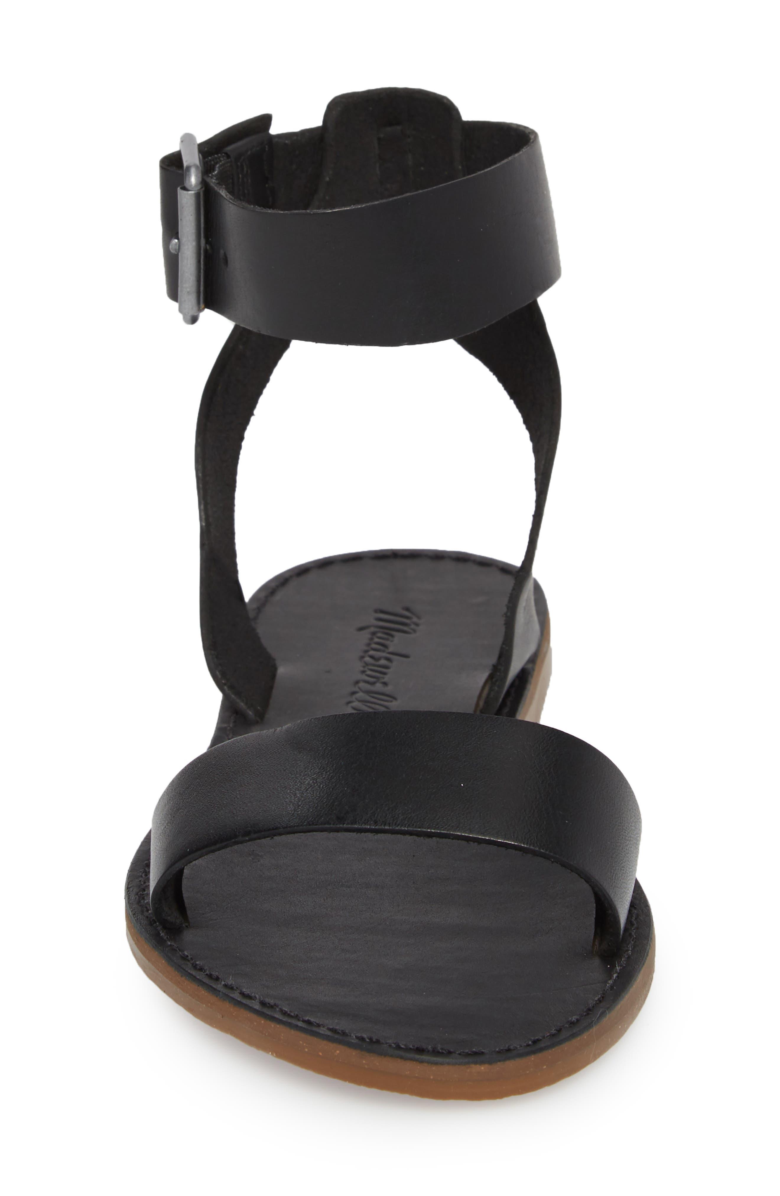 The Boardwalk Ankle Strap Sandal,                             Alternate thumbnail 4, color,                             True Black Leather