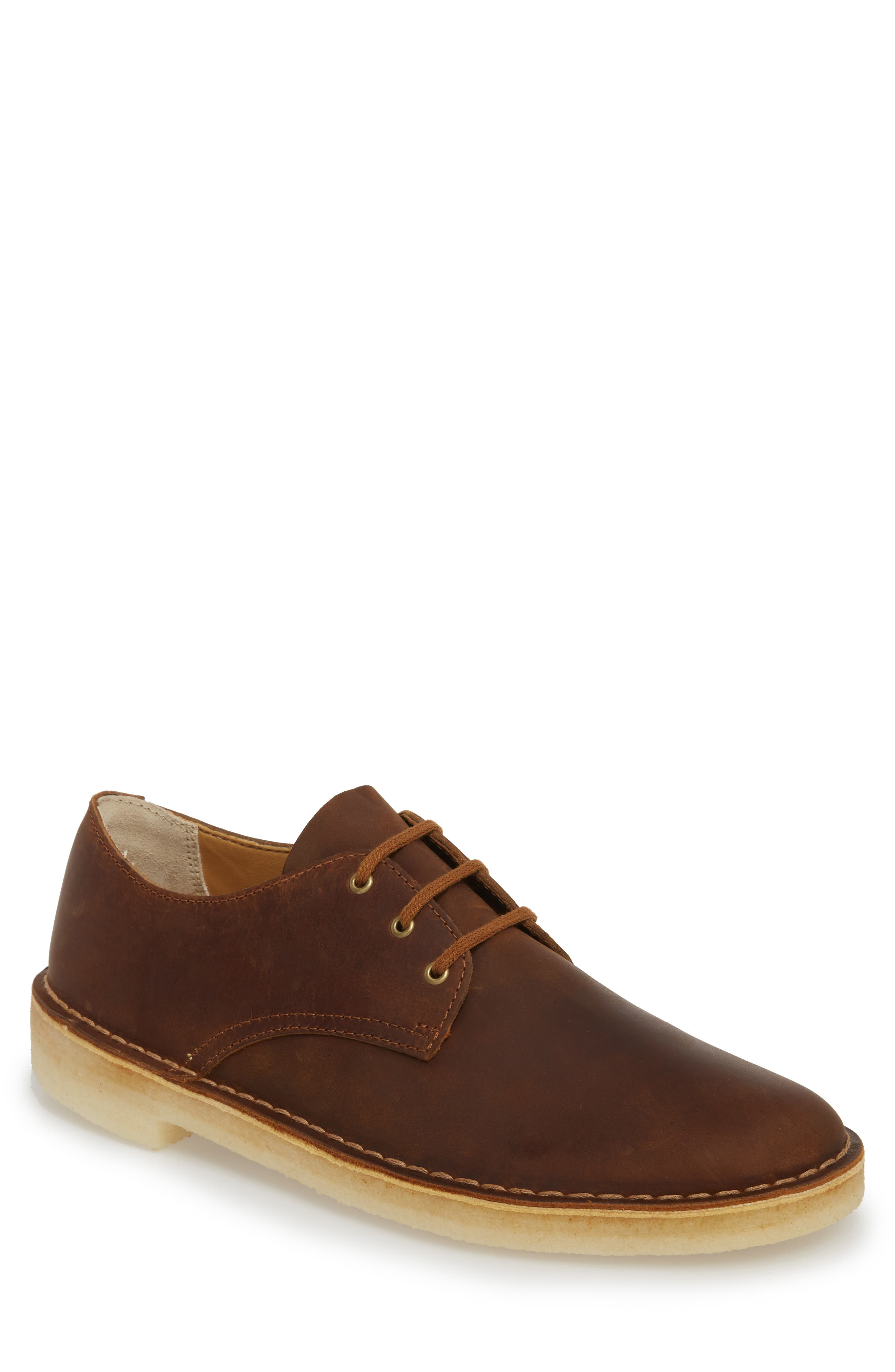 Clarks<sup>®</sup> Desert Crosby Plain Toe Derby,                             Main thumbnail 1, color,                             Beeswax Leather