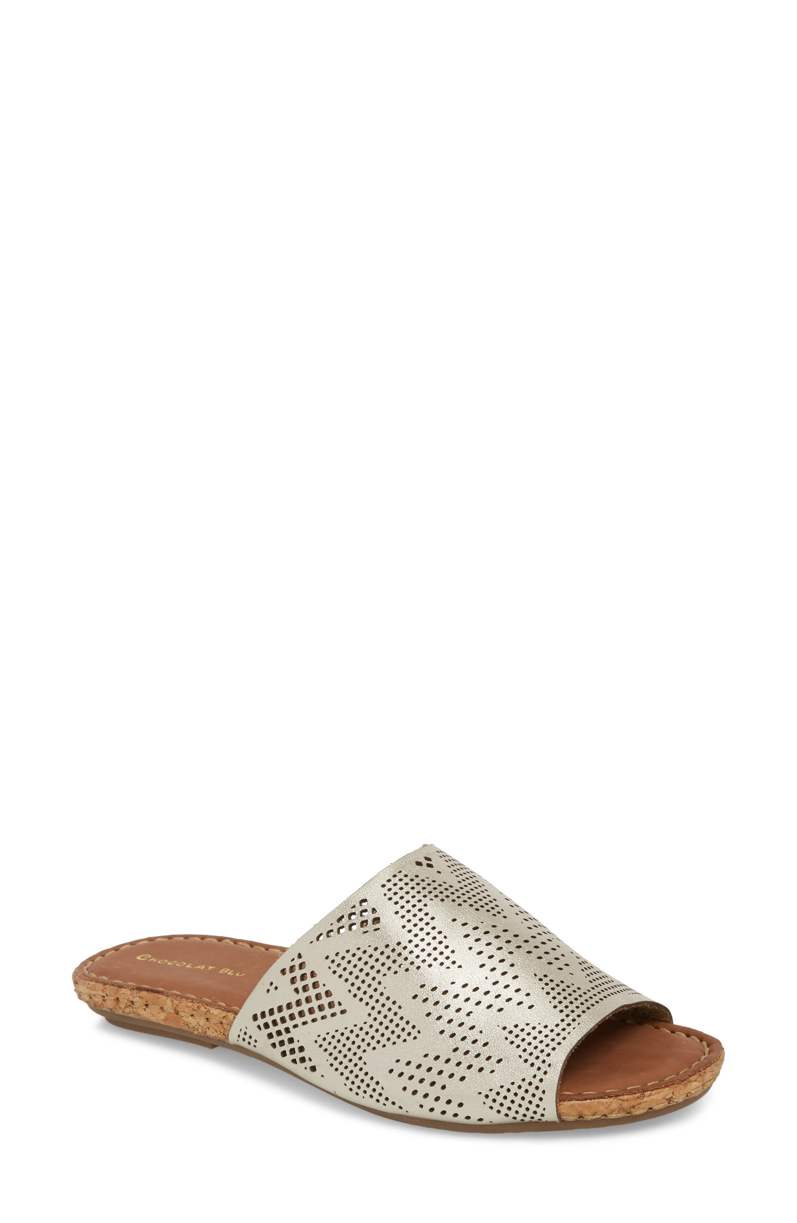 Bruno Slide Sandal,                         Main,                         color, Gold Leather