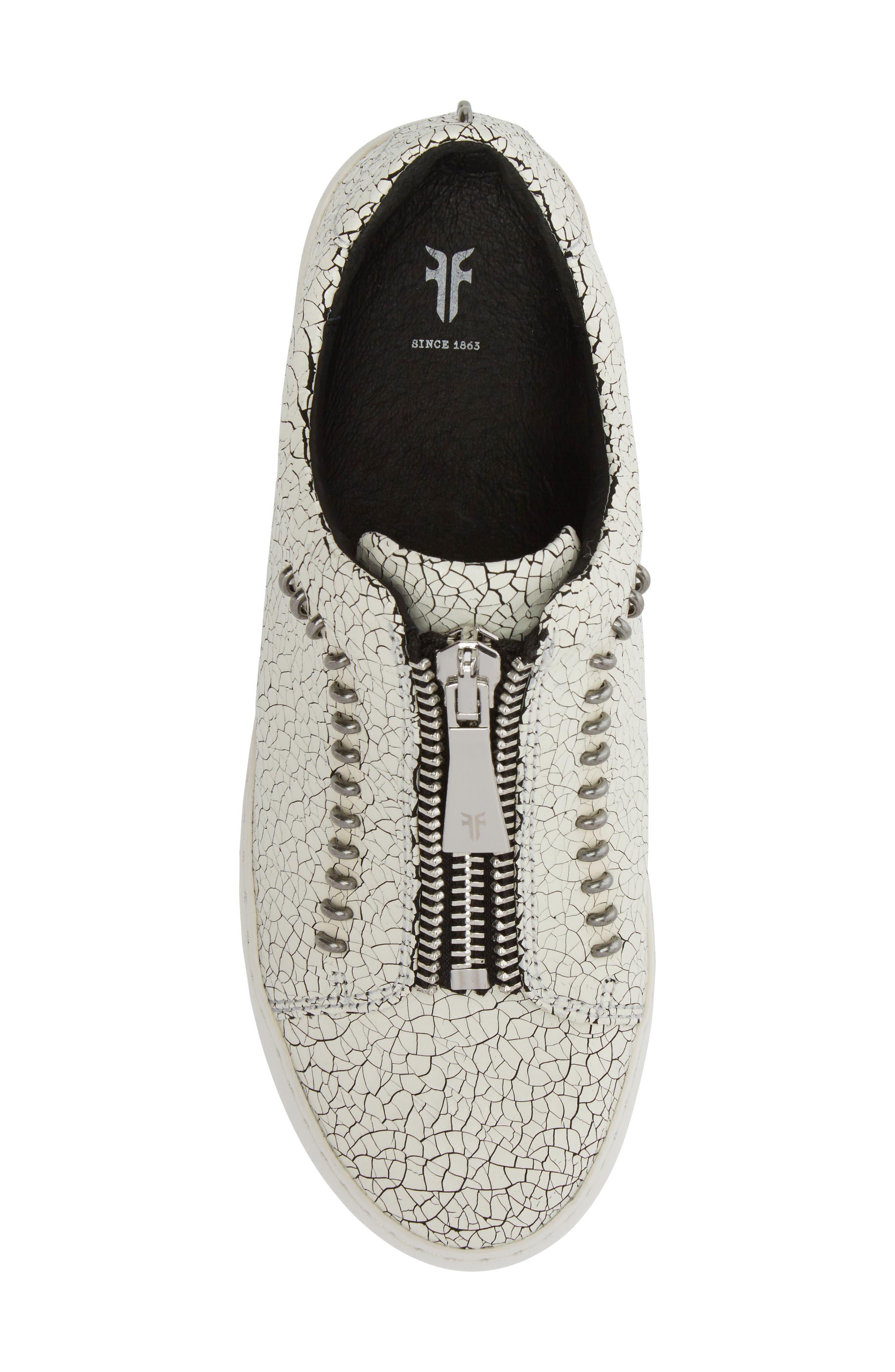 Lena Rebel Zip Sneaker,                             Alternate thumbnail 5, color,                             White Leather