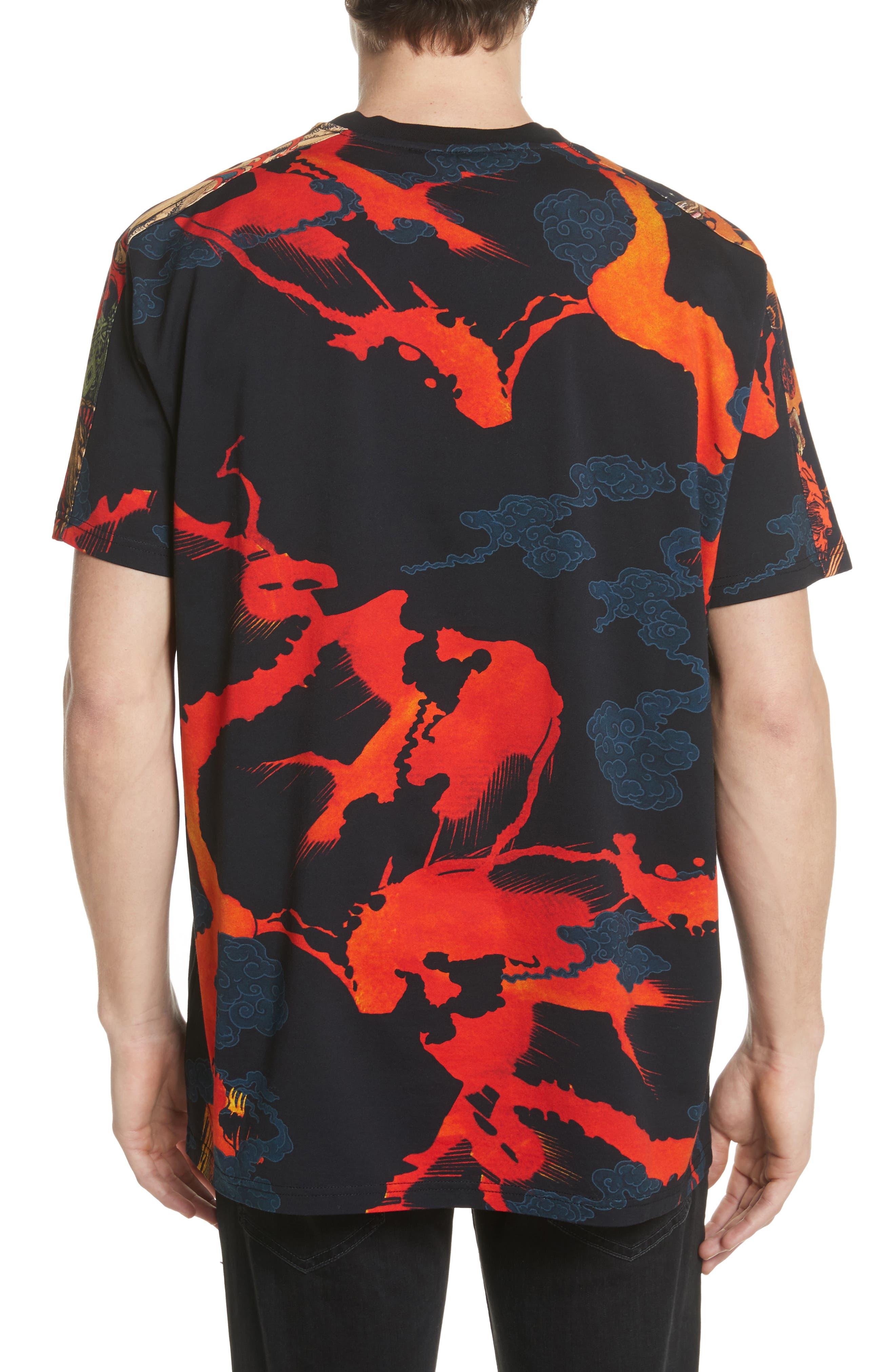 Fire Print T-Shirt,                             Alternate thumbnail 2, color,                             Black