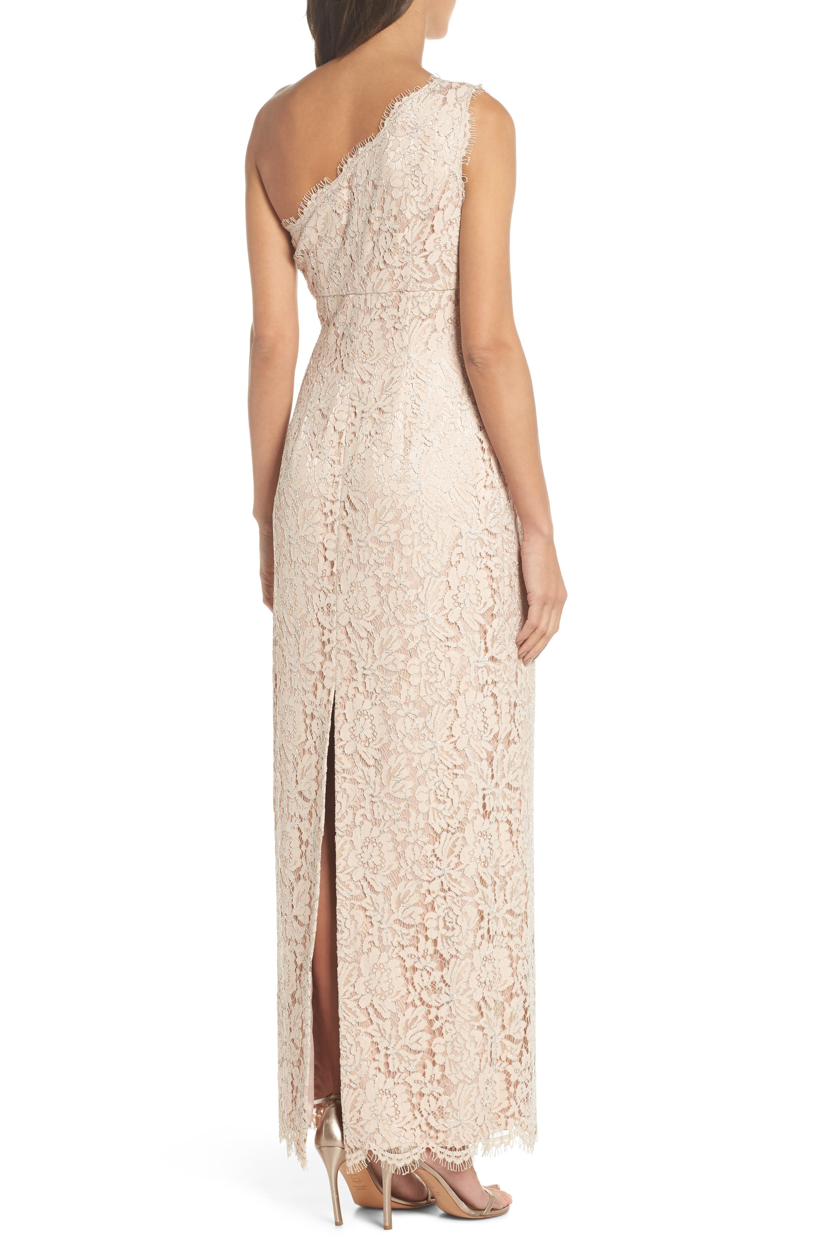 One-Shoulder Lace Gown,                             Alternate thumbnail 2, color,                             Champagne