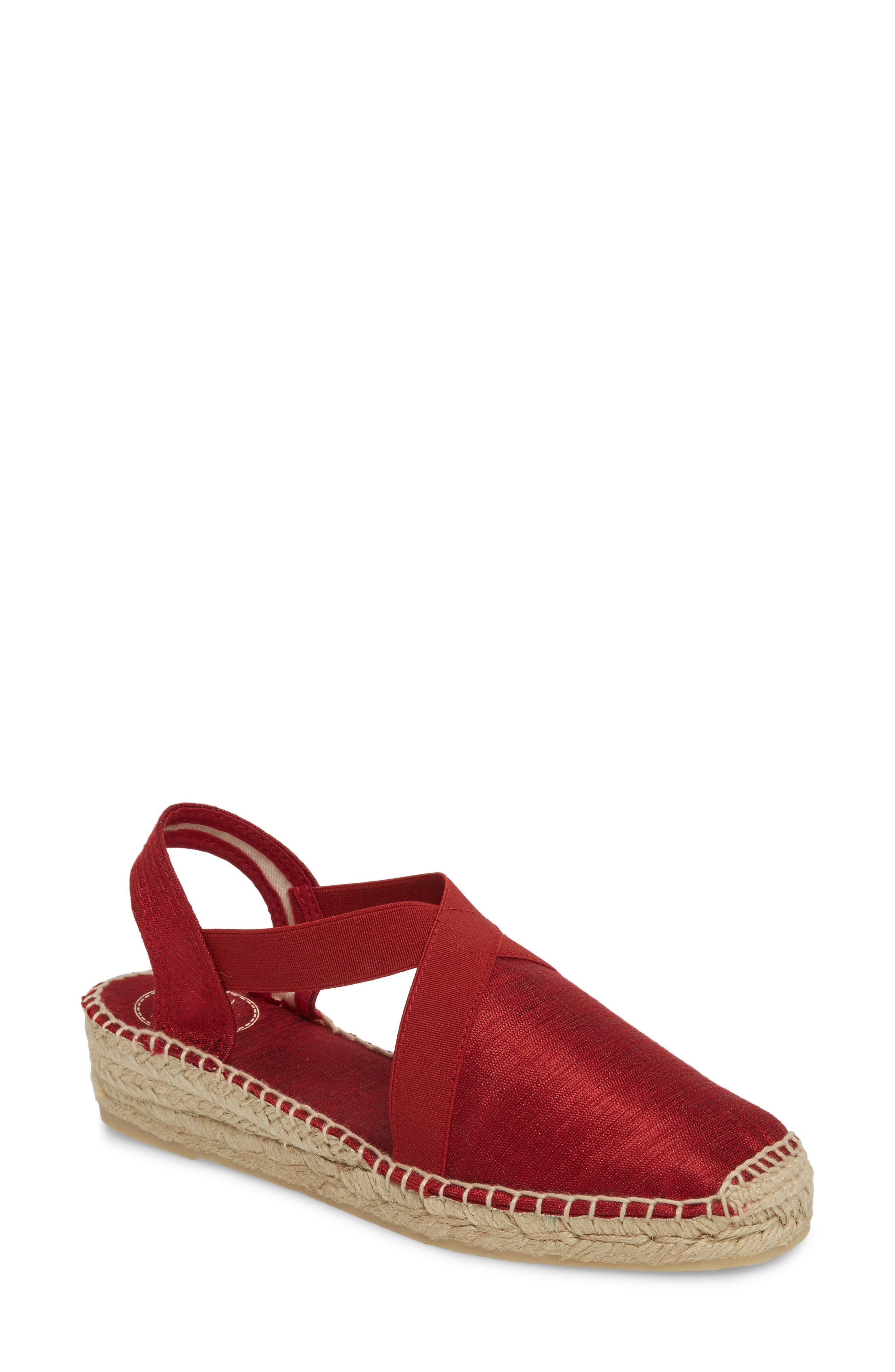'Vic' Espadrille Slingback Sandal,                             Main thumbnail 1, color,                             Red Fabric