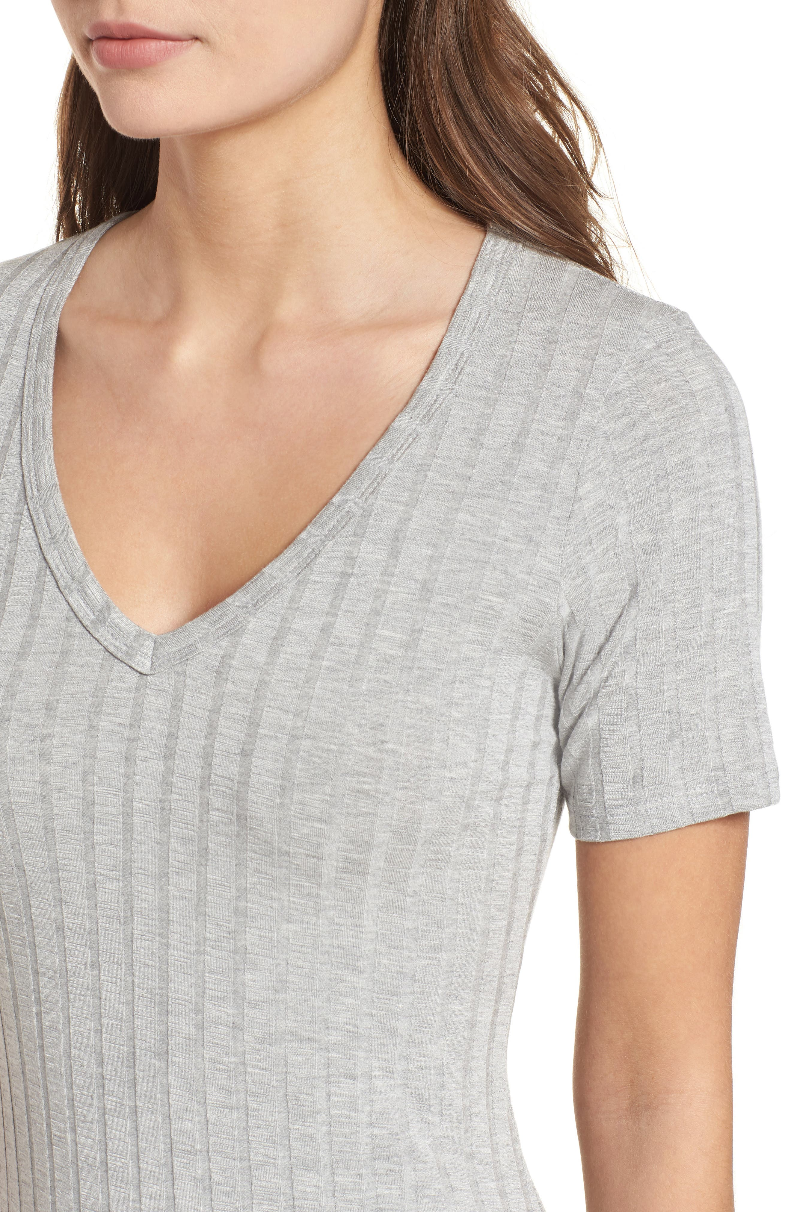 Project Social T Ribbed Body-Con Dress,                             Alternate thumbnail 4, color,                             Heather Grey