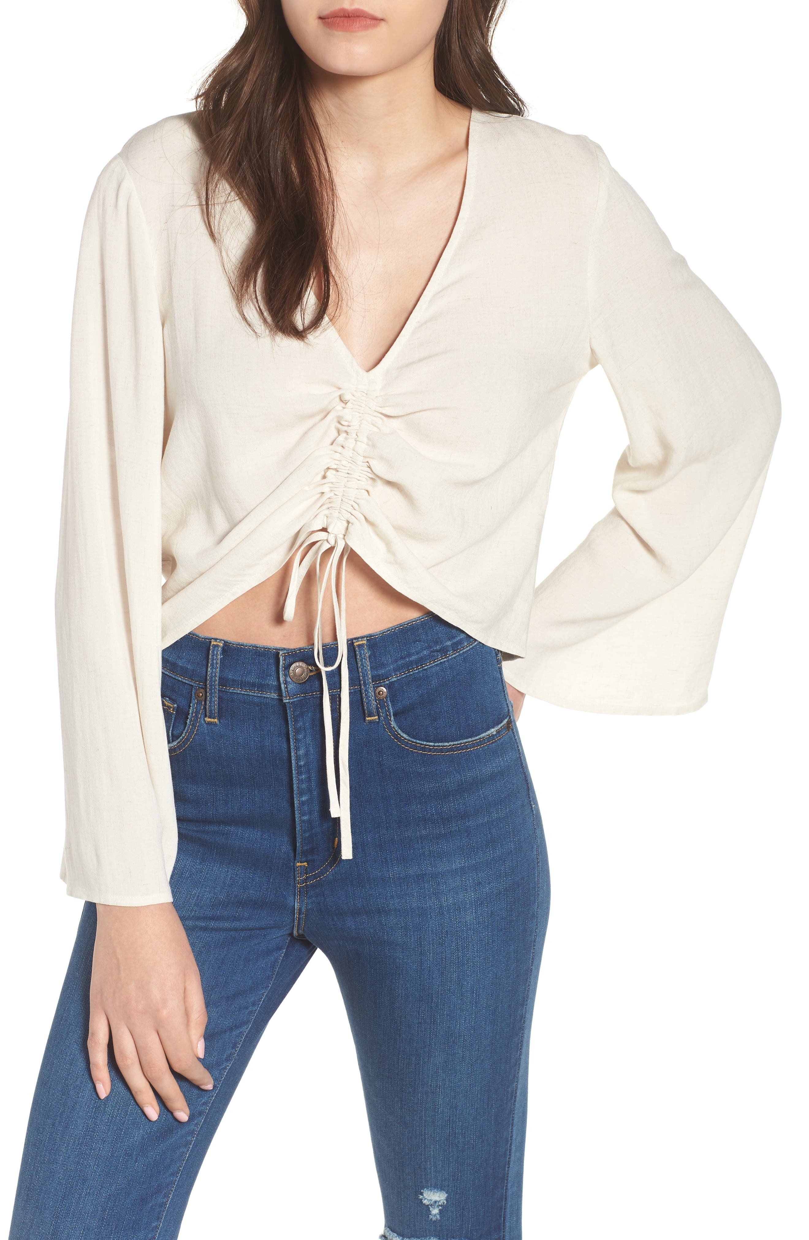 Ruched Front Top,                             Main thumbnail 1, color,                             Beige Oatmeal Heather