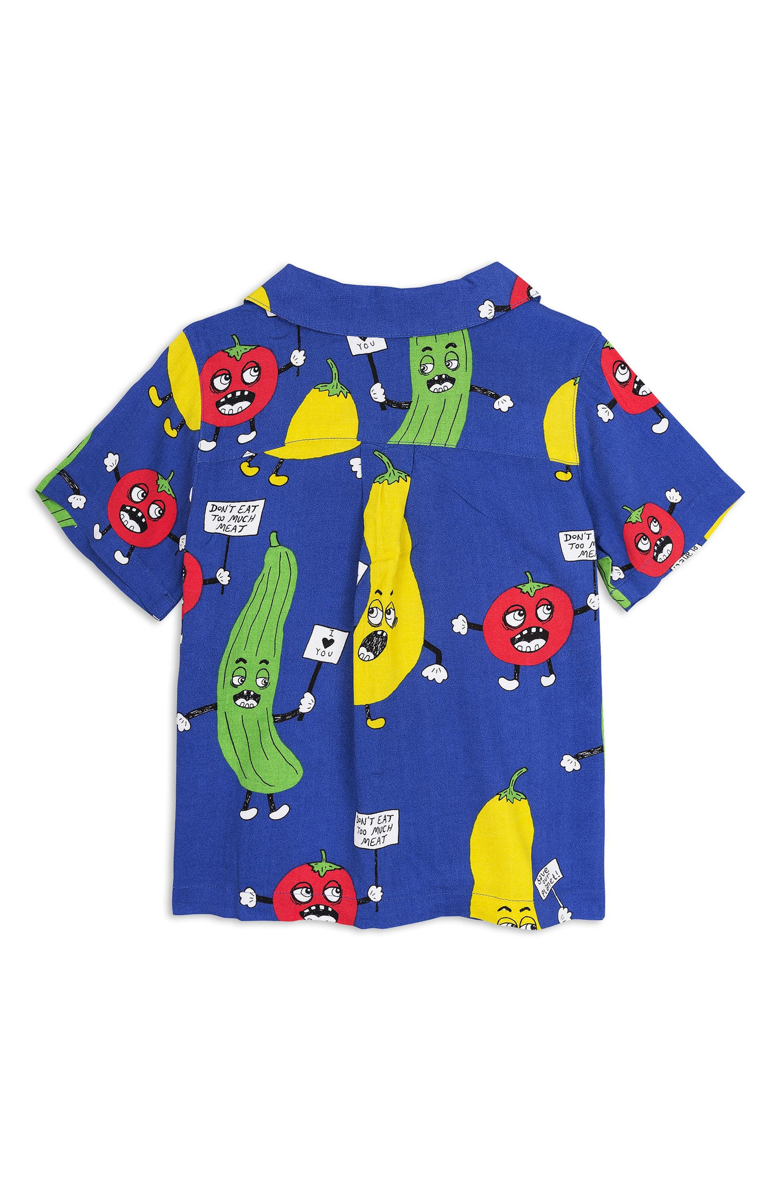 Veggie Print Woven Shirt,                             Alternate thumbnail 2, color,                             Blue
