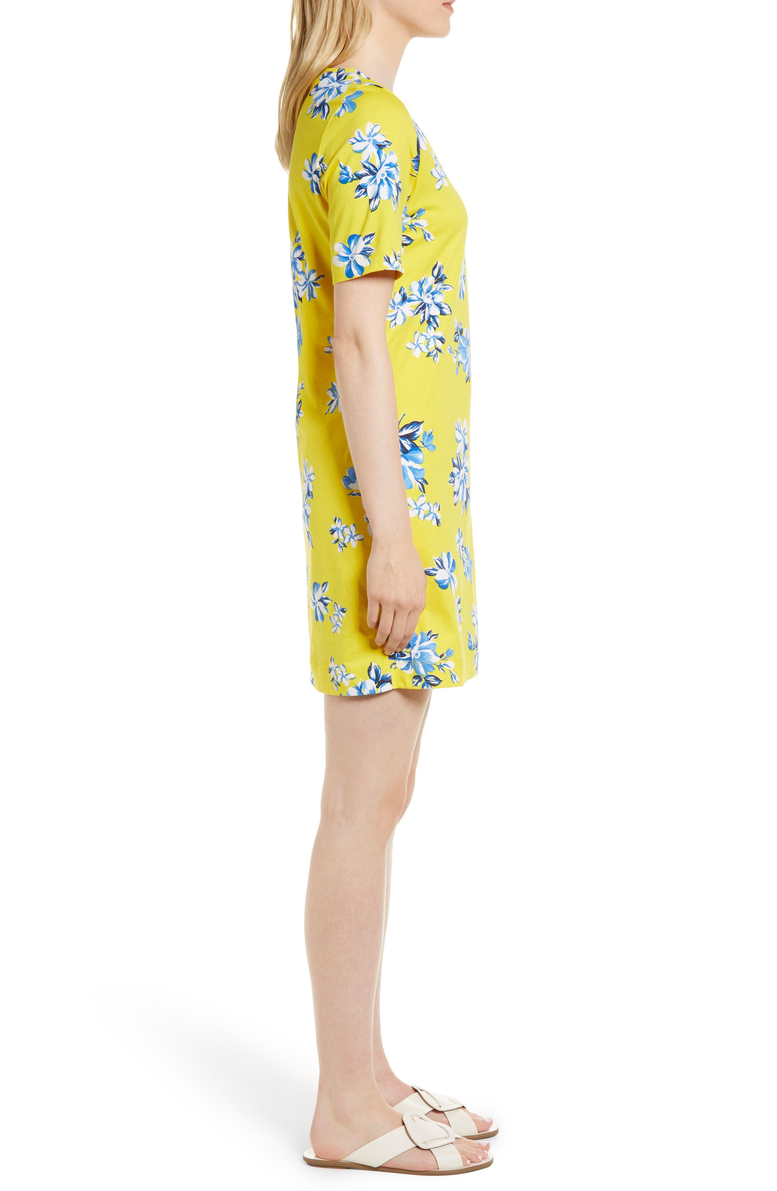 Floral Hillsboro Pima Cotton Shift Dress,                             Alternate thumbnail 3, color,                             Yellow
