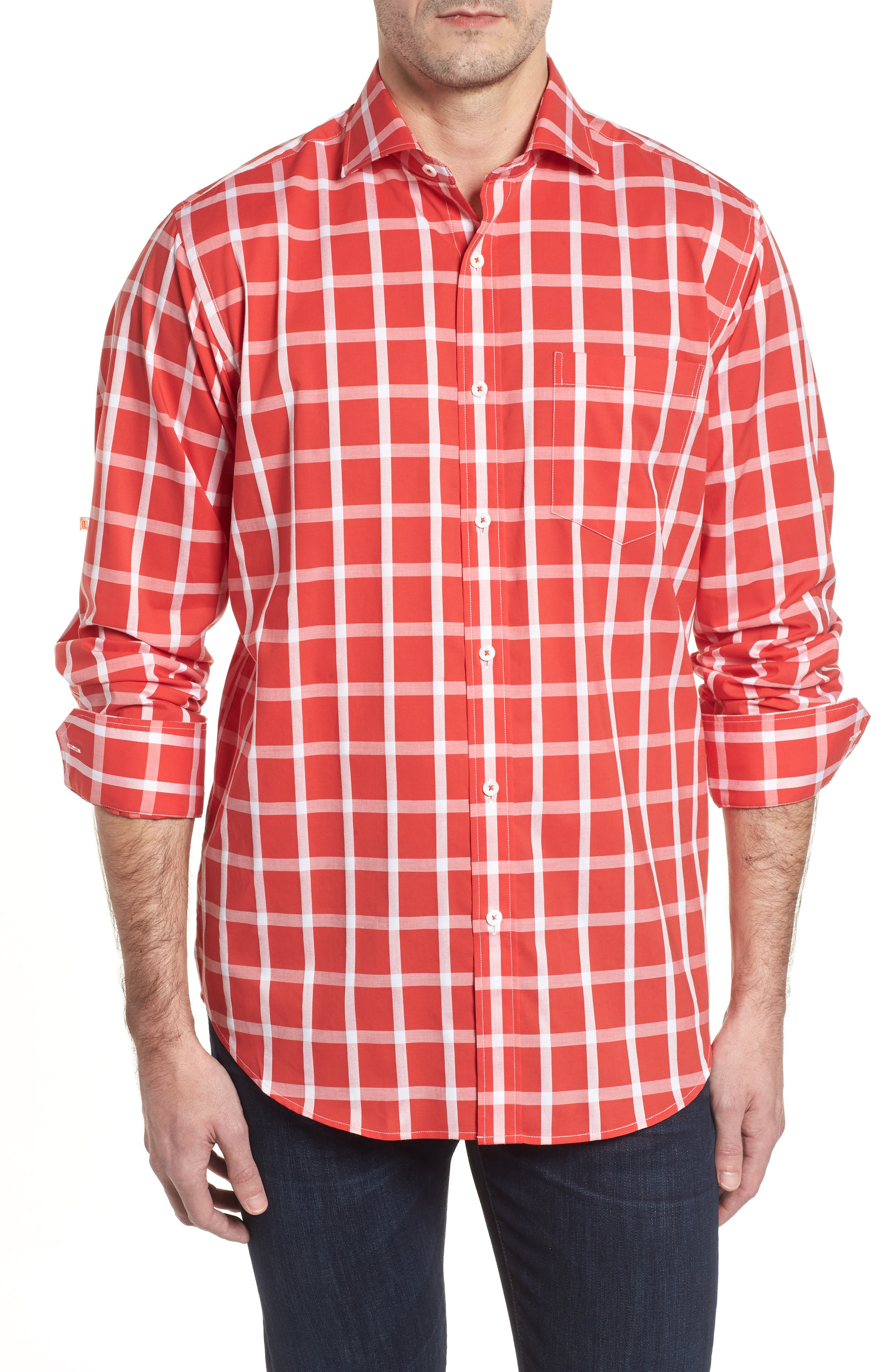 Classic Fit Windowpane Plaid Sport Shirt,                         Main,                         color, Pimento
