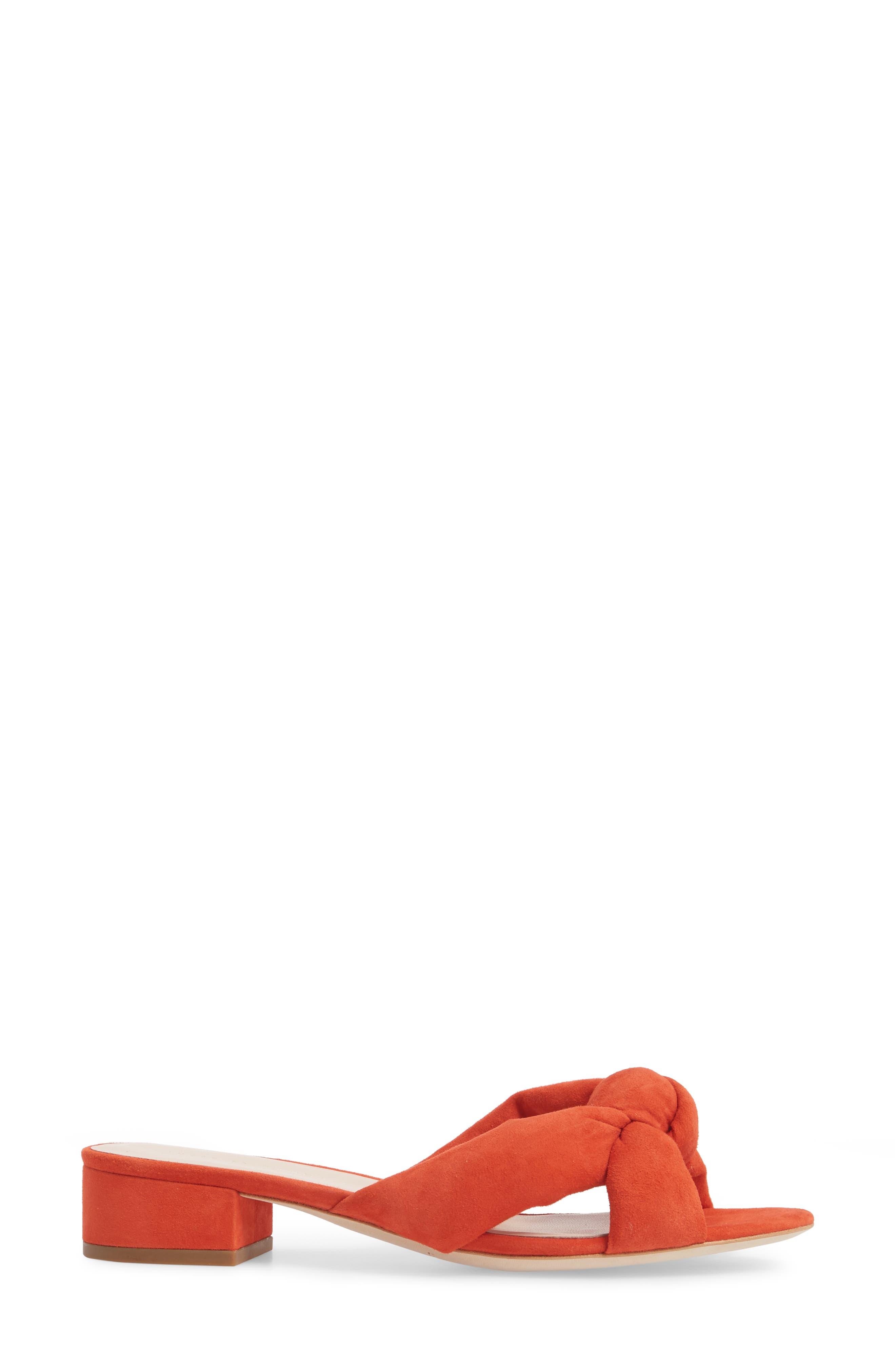 Elsie Knotted Slide Sandal,                             Alternate thumbnail 3, color,                             Persimmon