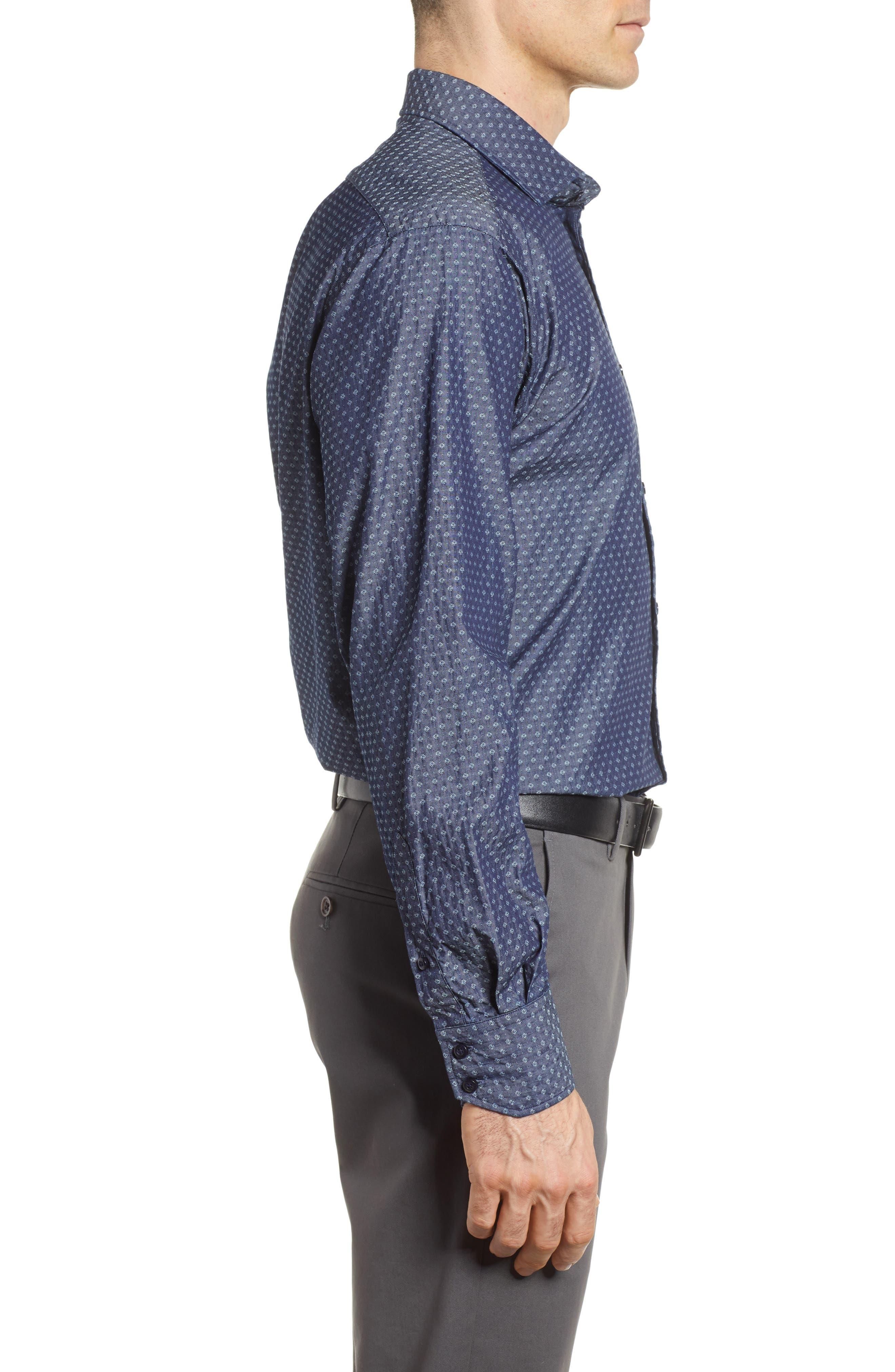 Print Sport Shirt,                             Alternate thumbnail 3, color,                             Dark Blue