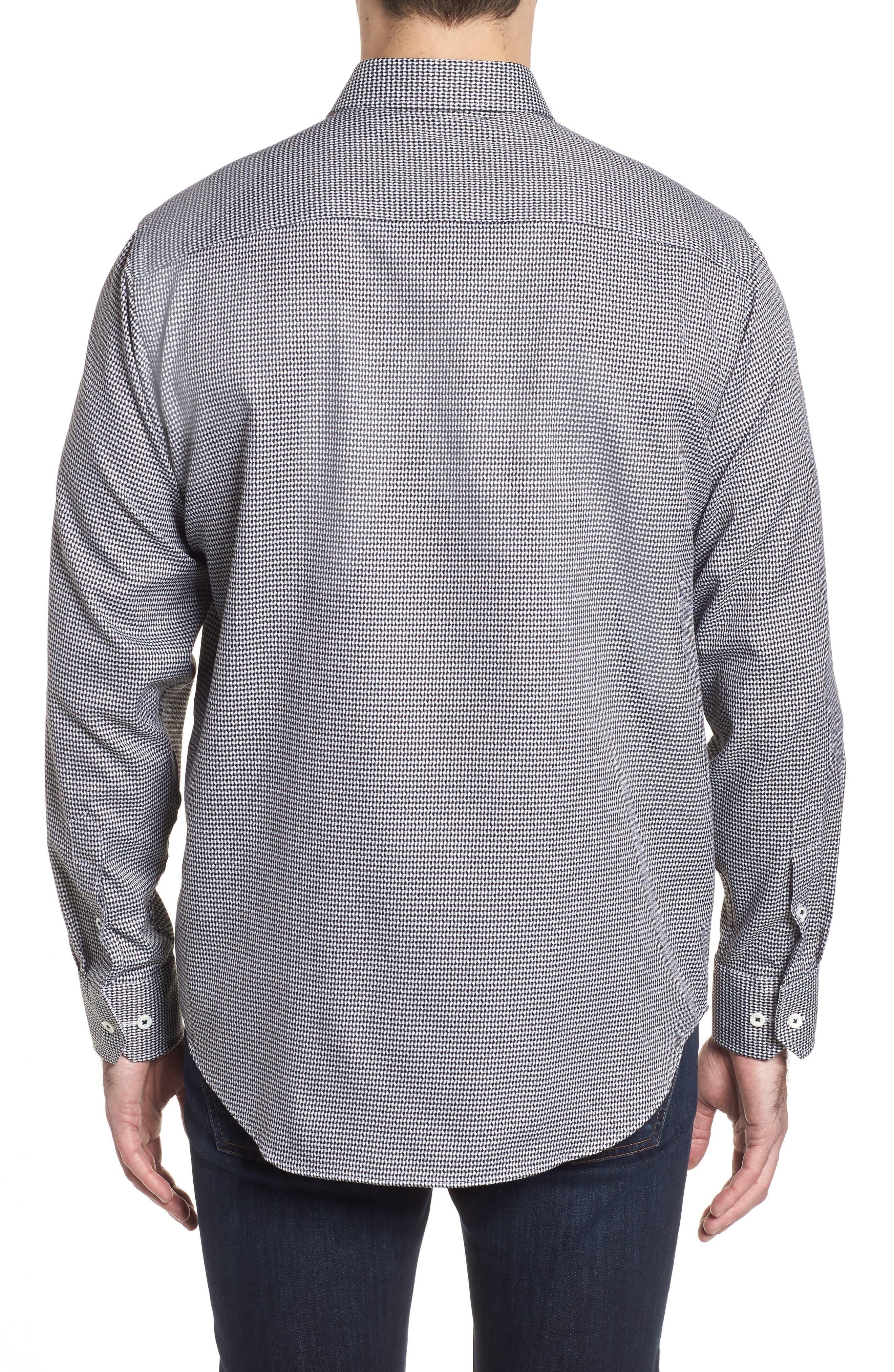 Classic Fit Lines of Distinction Print Sport Shirt,                             Alternate thumbnail 2, color,                             Black