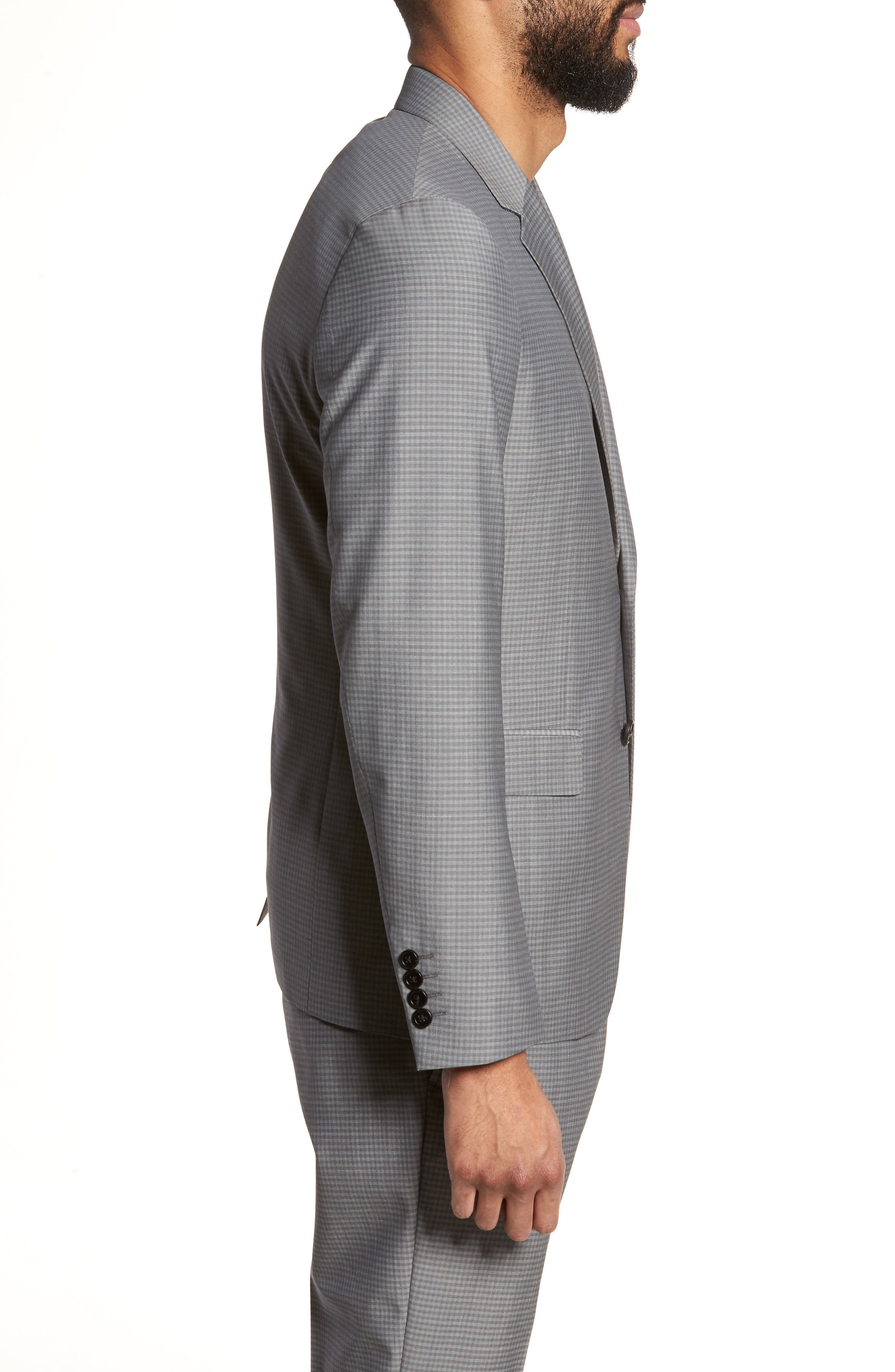 Gansevoort Trim Fit Check Wool Sport Coat,                             Alternate thumbnail 3, color,                             Dove Multi