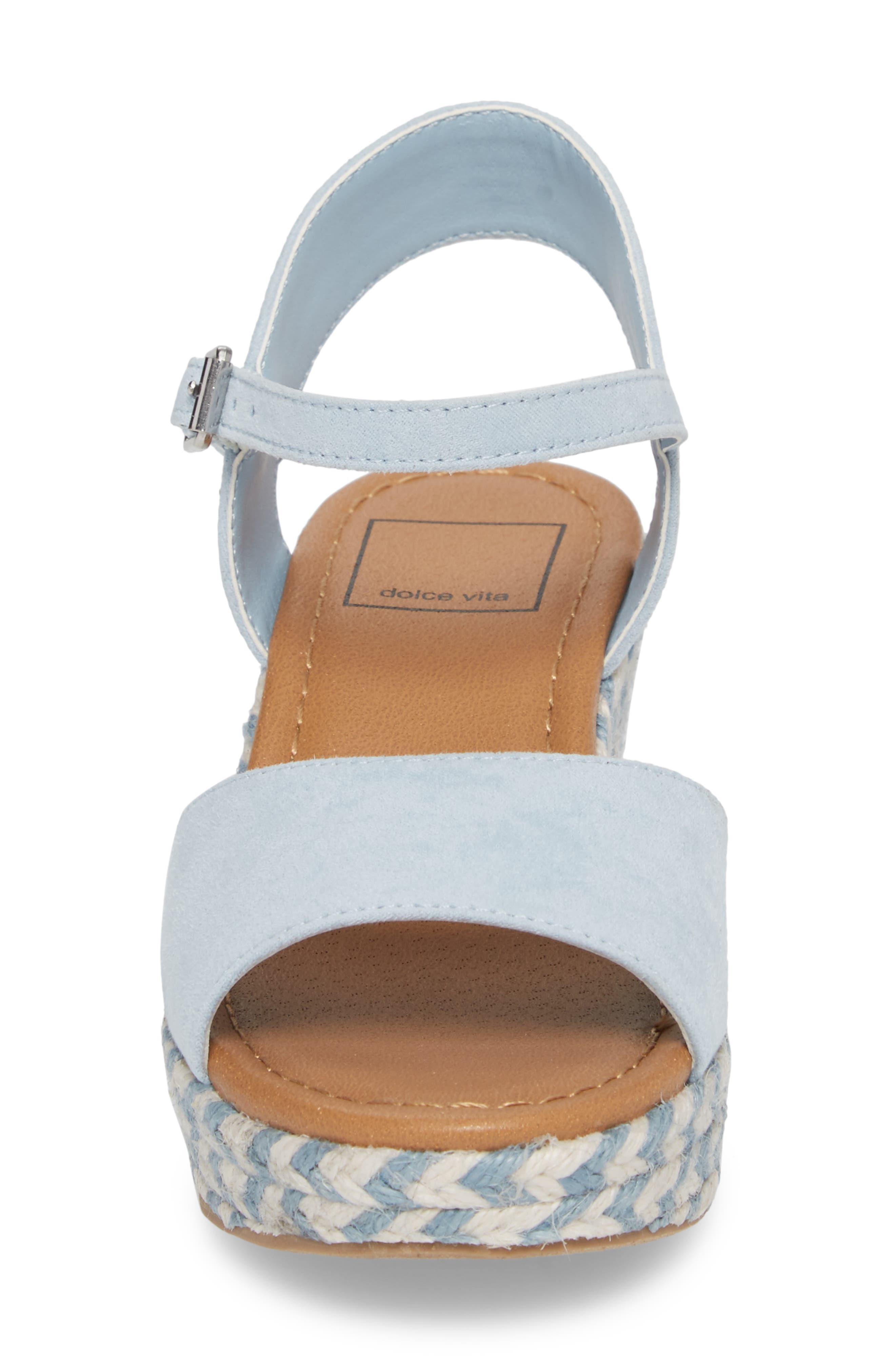 Wendy Espadrille Wedge Sandal,                             Alternate thumbnail 4, color,                             Light Blue