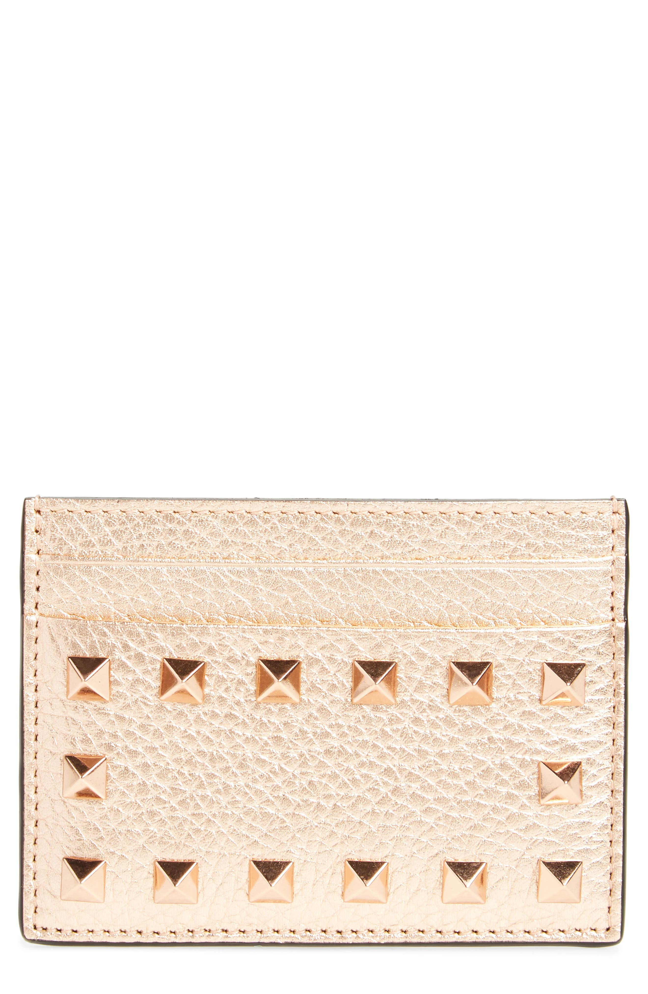 Rockstud Metallic Leather Card Holder,                         Main,                         color, Rosegold