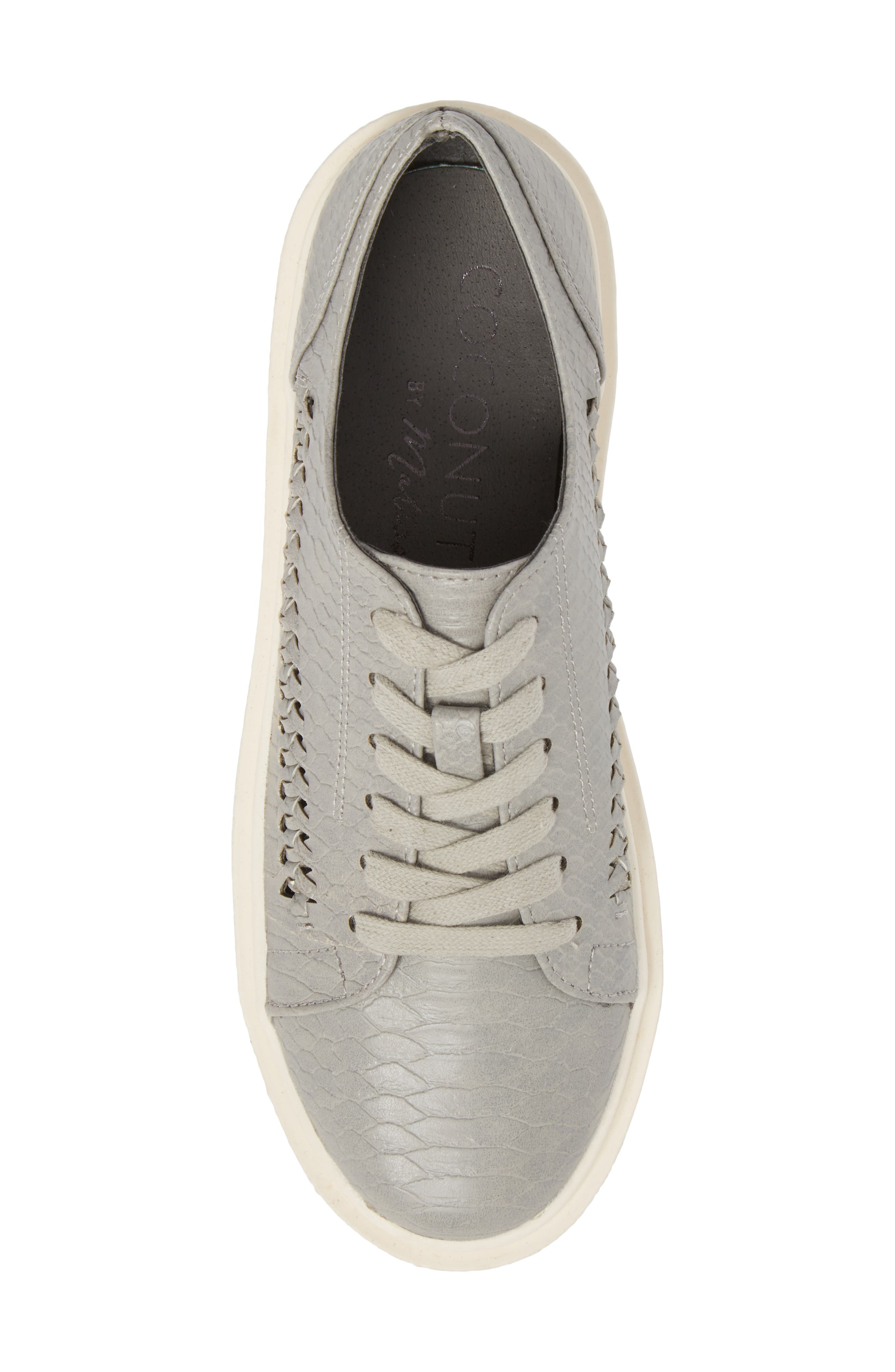 White Out Platform Sneaker,                             Alternate thumbnail 5, color,                             Grey Fabric