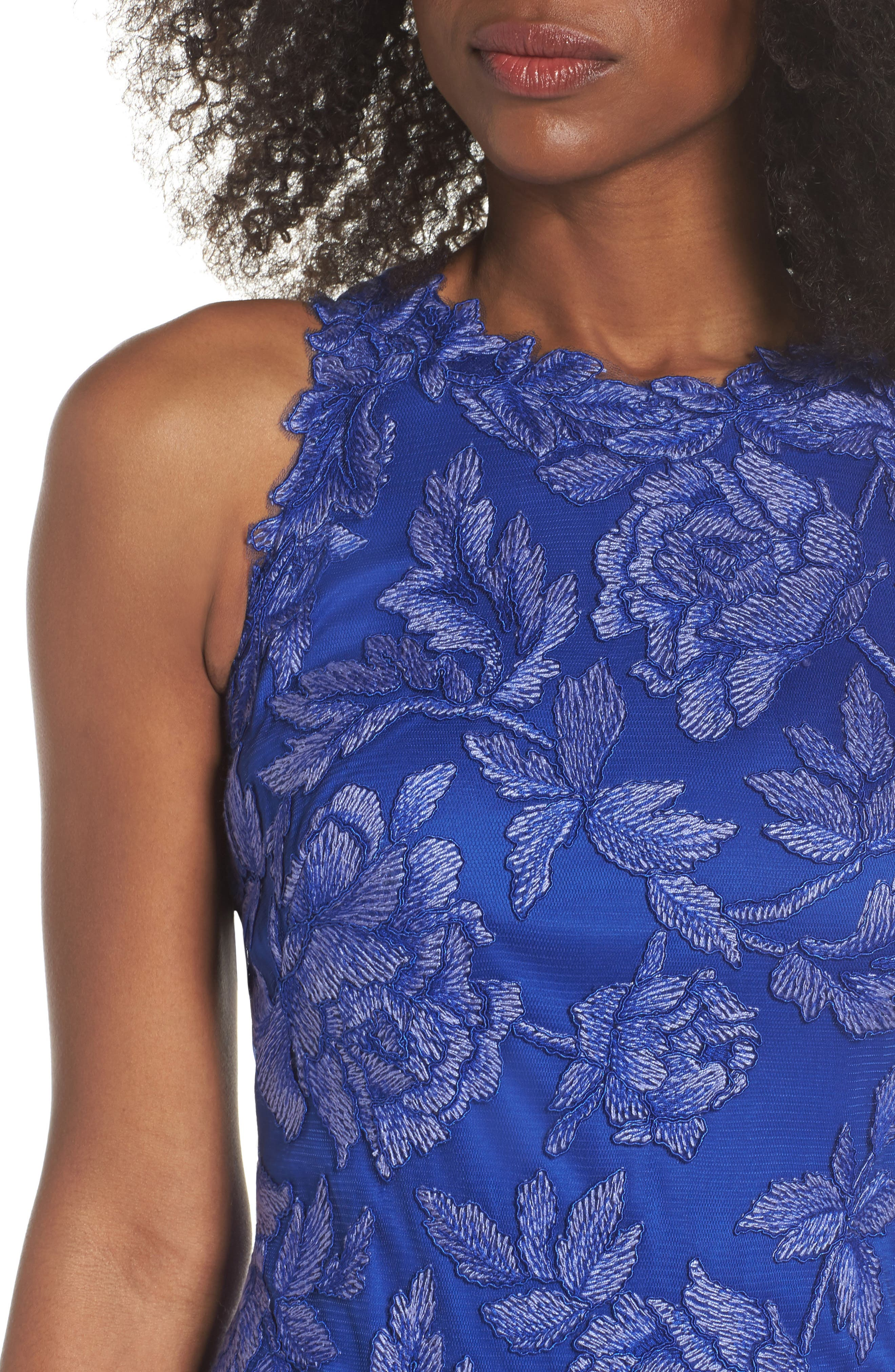 Embroidered Floral Sheath Dress,                             Alternate thumbnail 4, color,                             Blue Lily