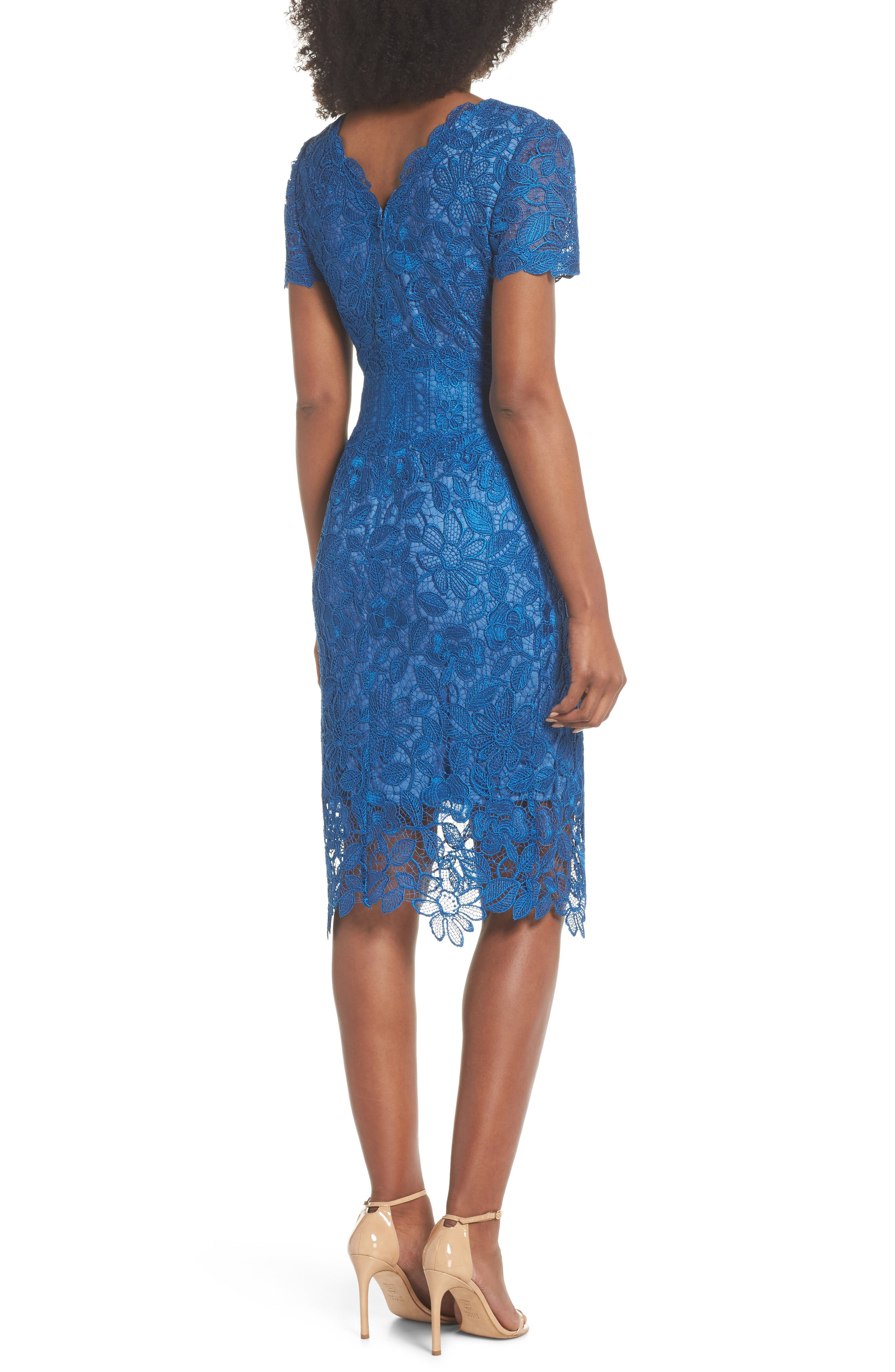 Carter Lace Sheath Dress,                             Alternate thumbnail 2, color,                             Azure