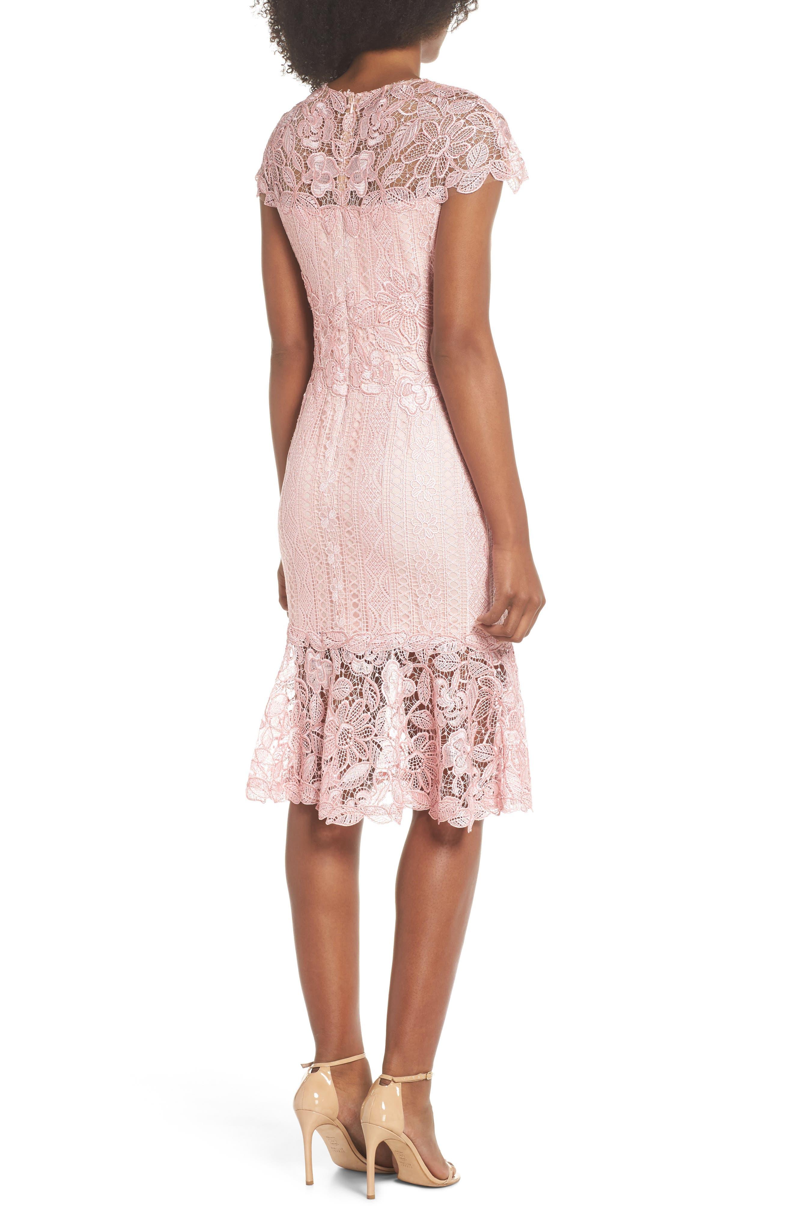 Alice Flounce Hem Lace Dress,                             Alternate thumbnail 2, color,                             Rose Quartz