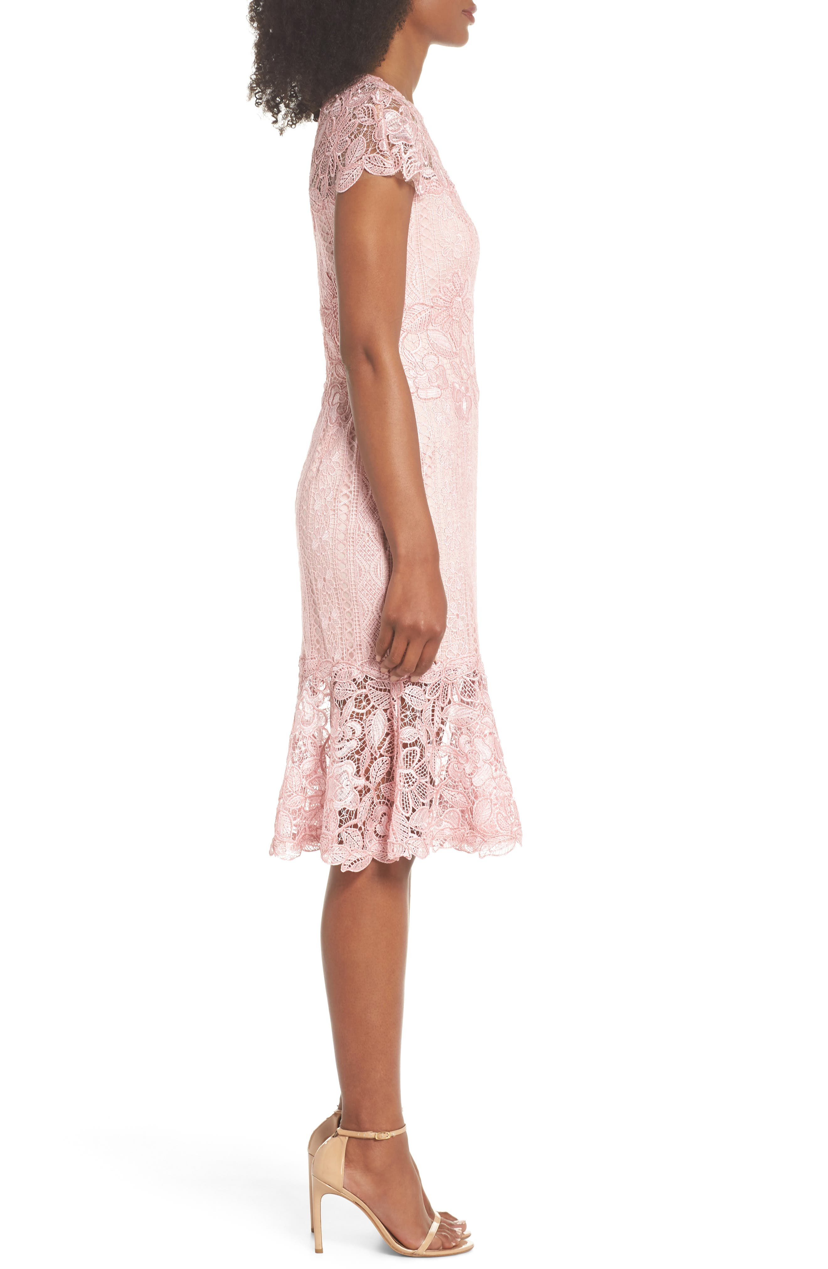 Alice Flounce Hem Lace Dress,                             Alternate thumbnail 3, color,                             Rose Quartz