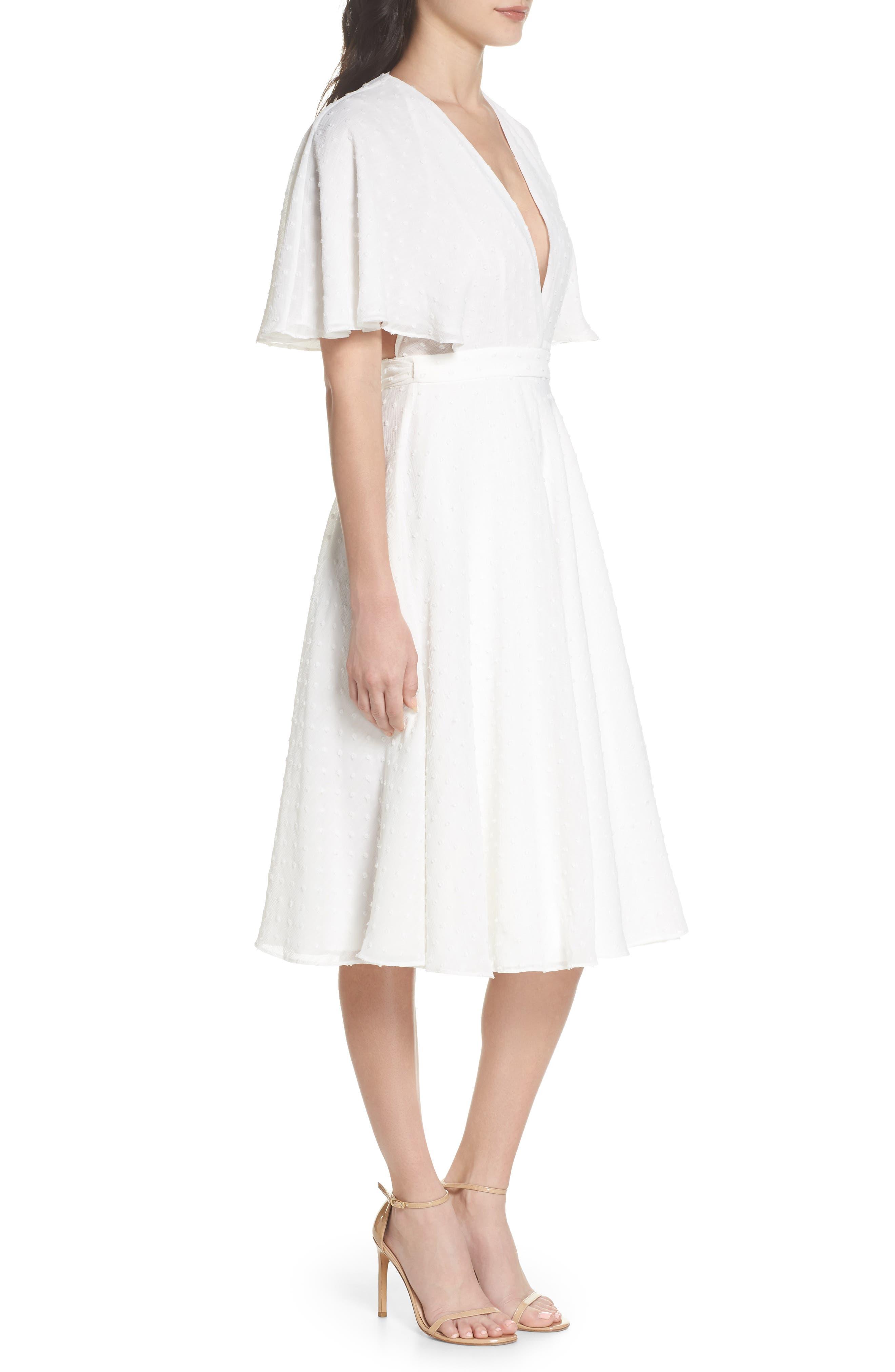 Sylvan Swiss Dot Wrap Dress,                             Alternate thumbnail 3, color,                             Ivory