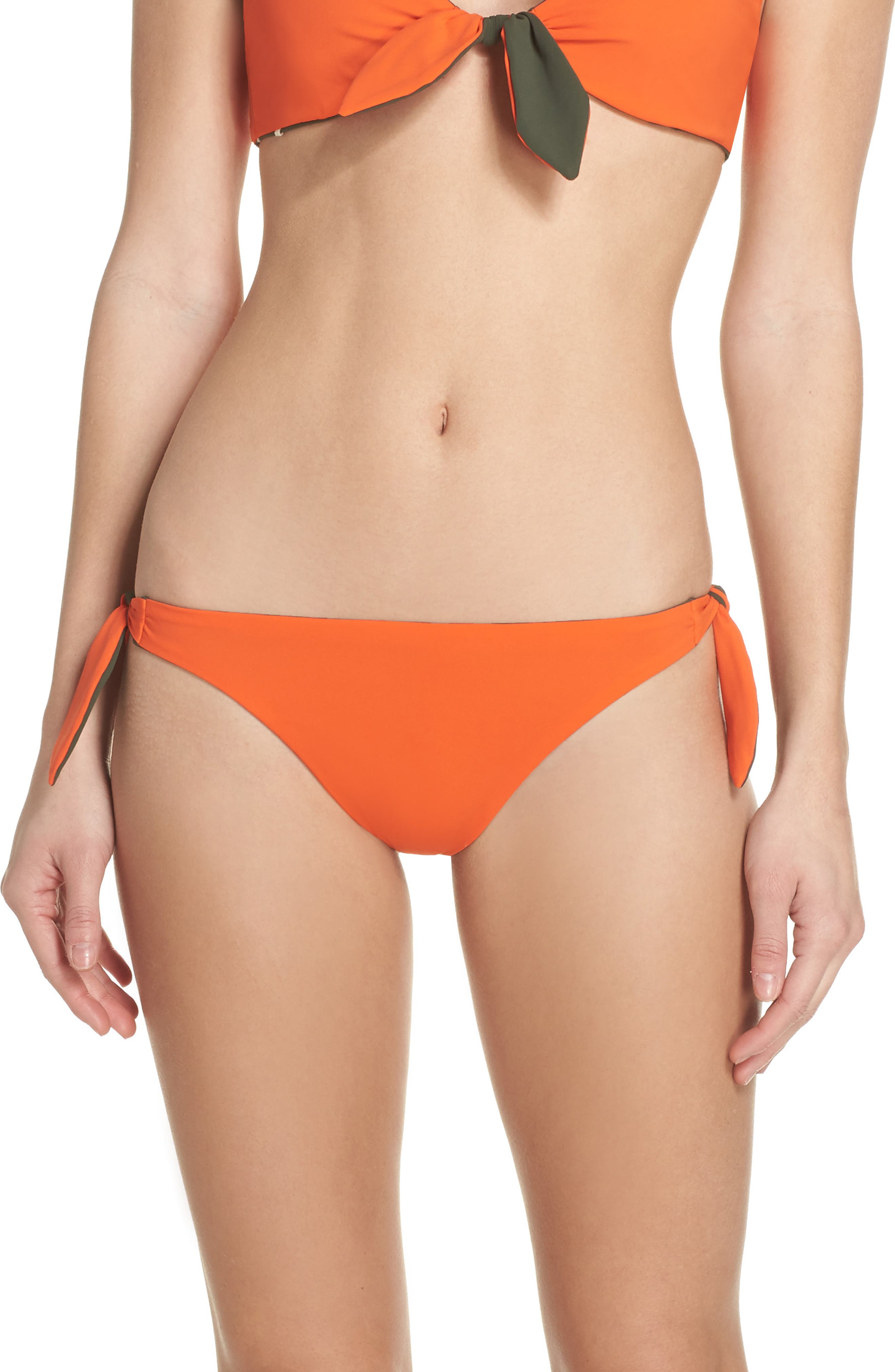 Biarritz Reversible Bikini Bottoms,                             Alternate thumbnail 2, color,                             Green Olive/ Sweet Tangerine