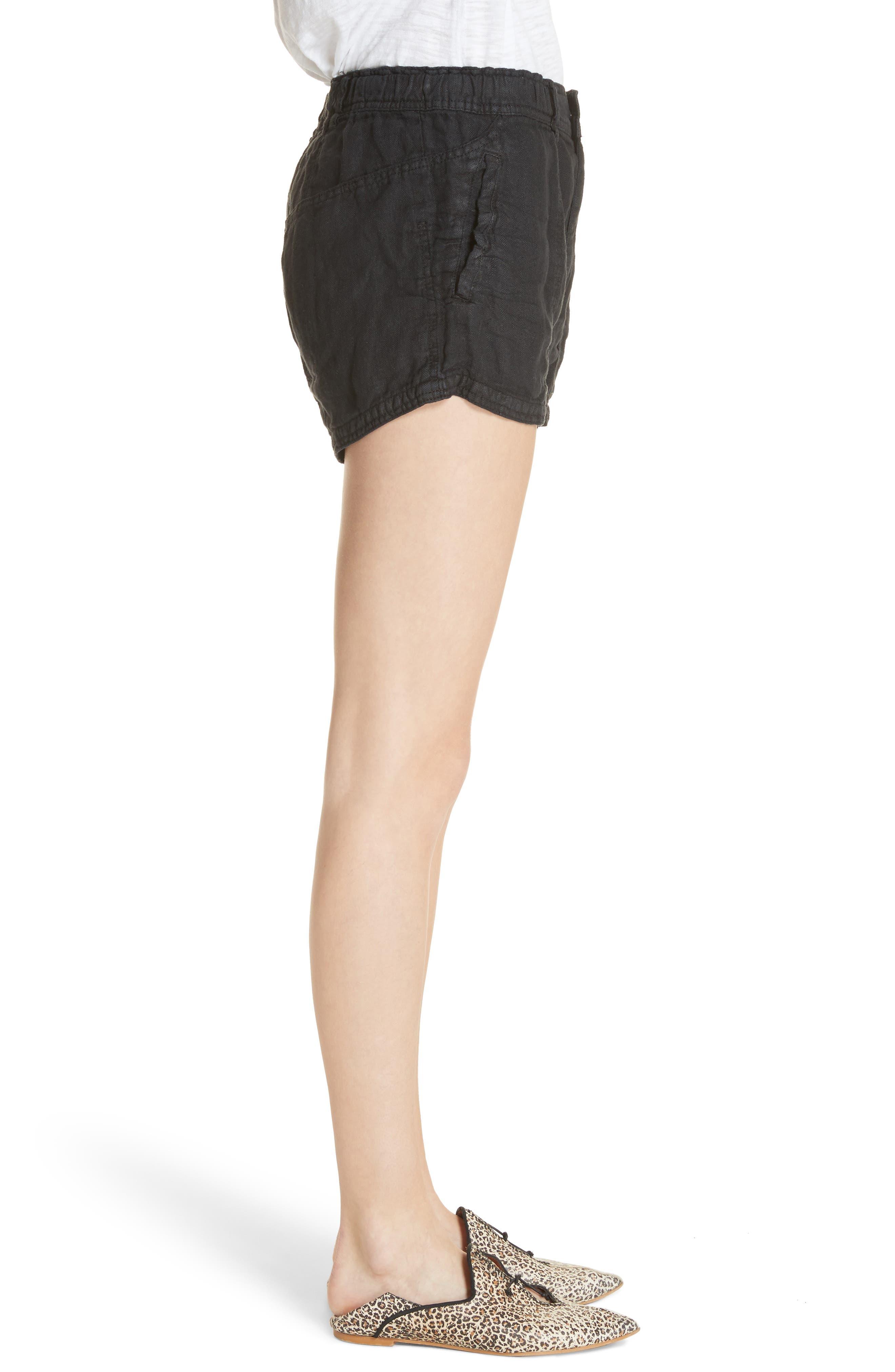 Beacon Utility Linen Shorts,                             Alternate thumbnail 3, color,                             Black