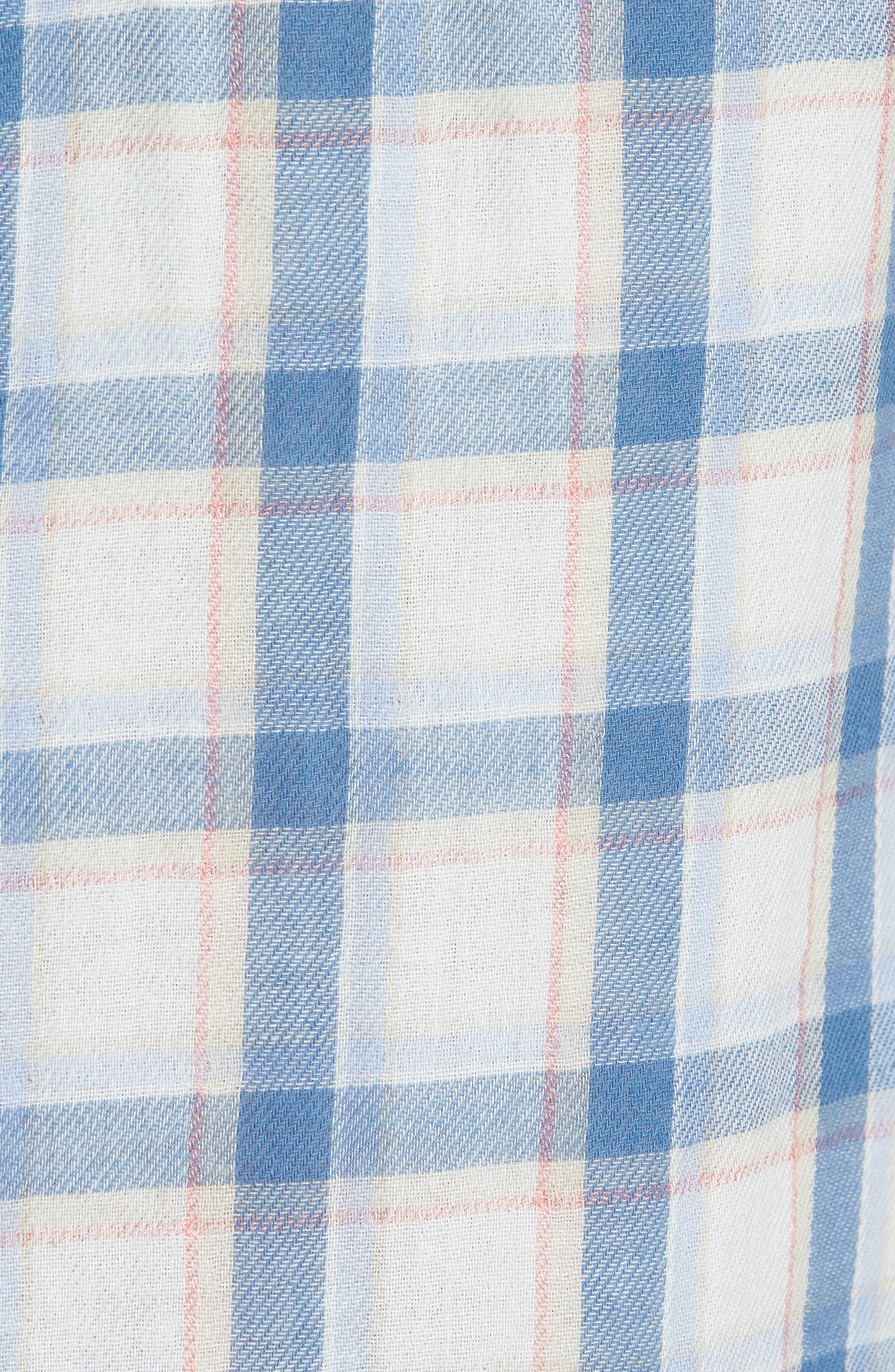 Larson Short Sleeve Sport Shirt,                             Alternate thumbnail 5, color,                             Cream Blue Plaid
