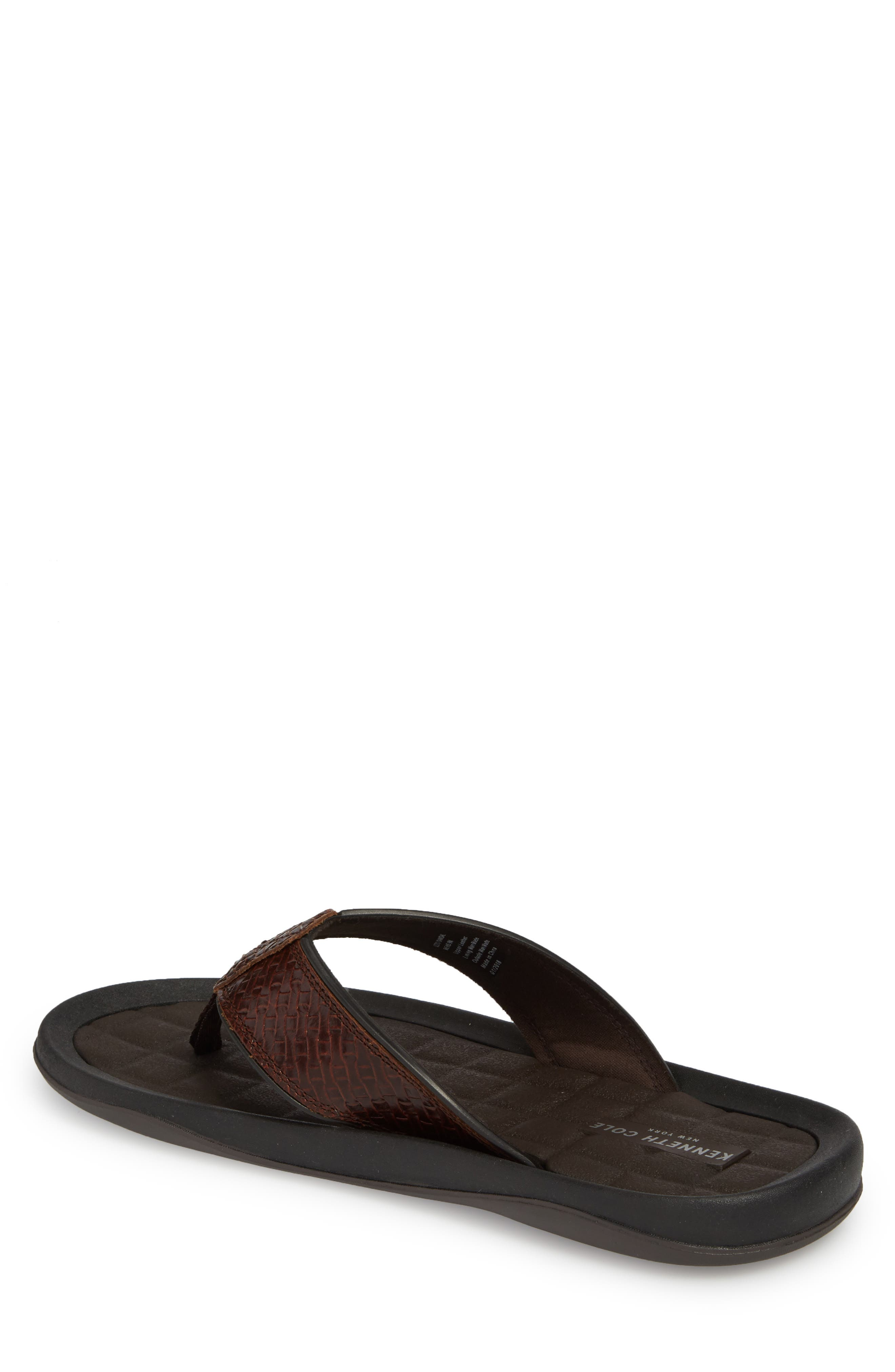 Izzo Embossed Flip Flop,                             Alternate thumbnail 2, color,                             Brown Leather