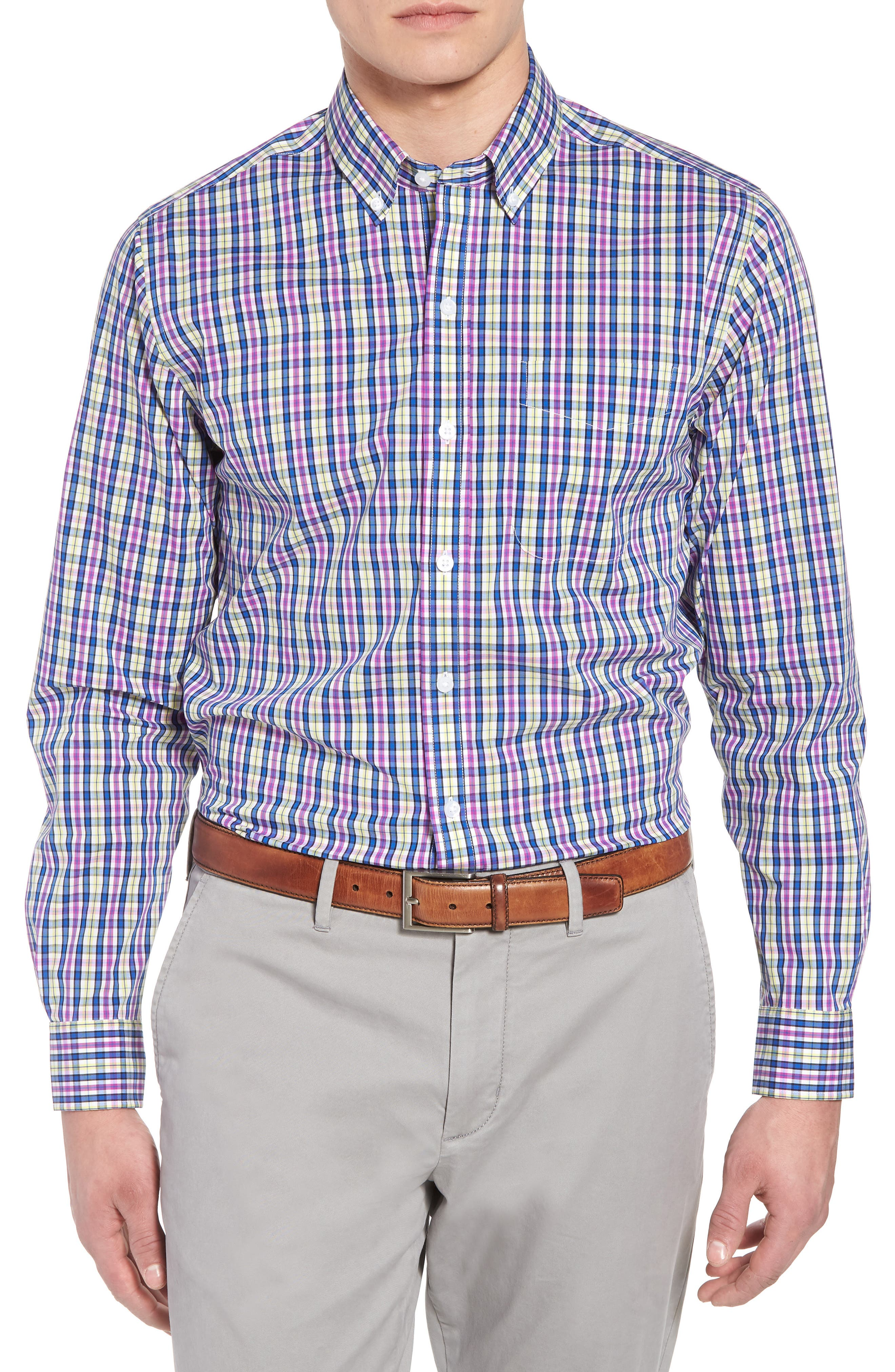 Anthony Plaid Performance Sport Shirt,                         Main,                         color, Limelight