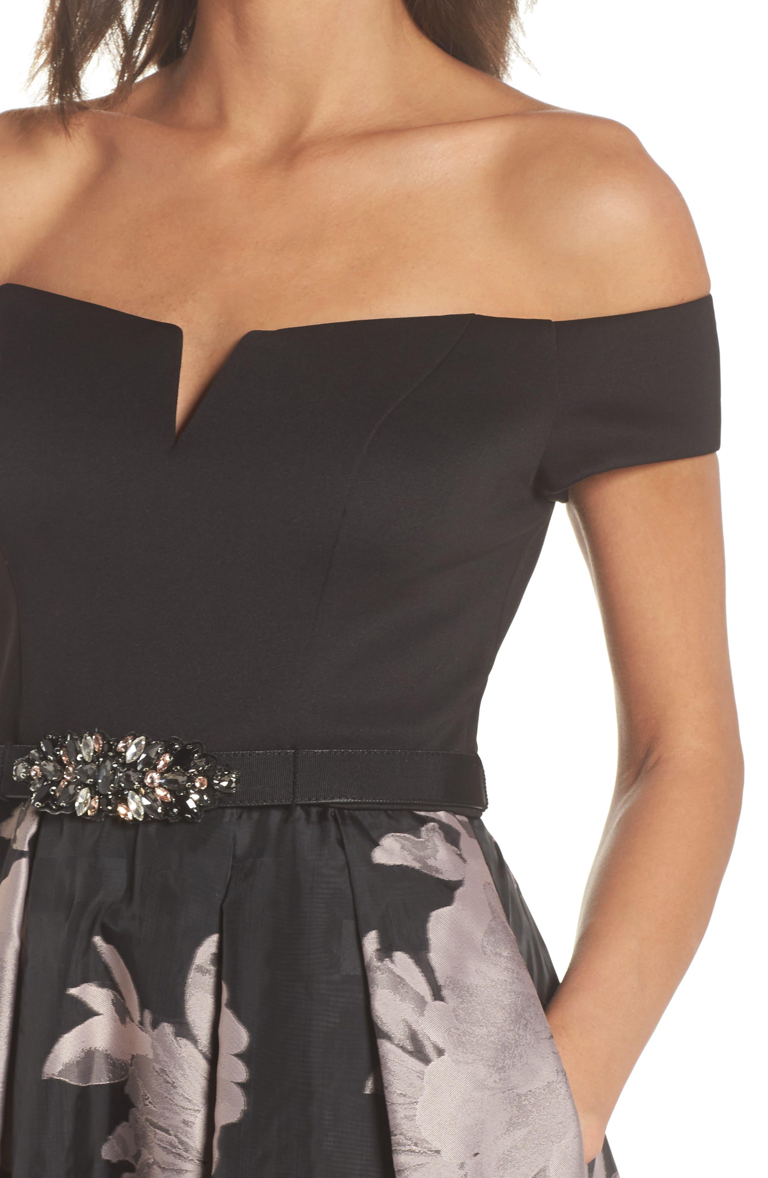 Off the Shoulder Ballgown,                             Alternate thumbnail 4, color,                             Black Blush